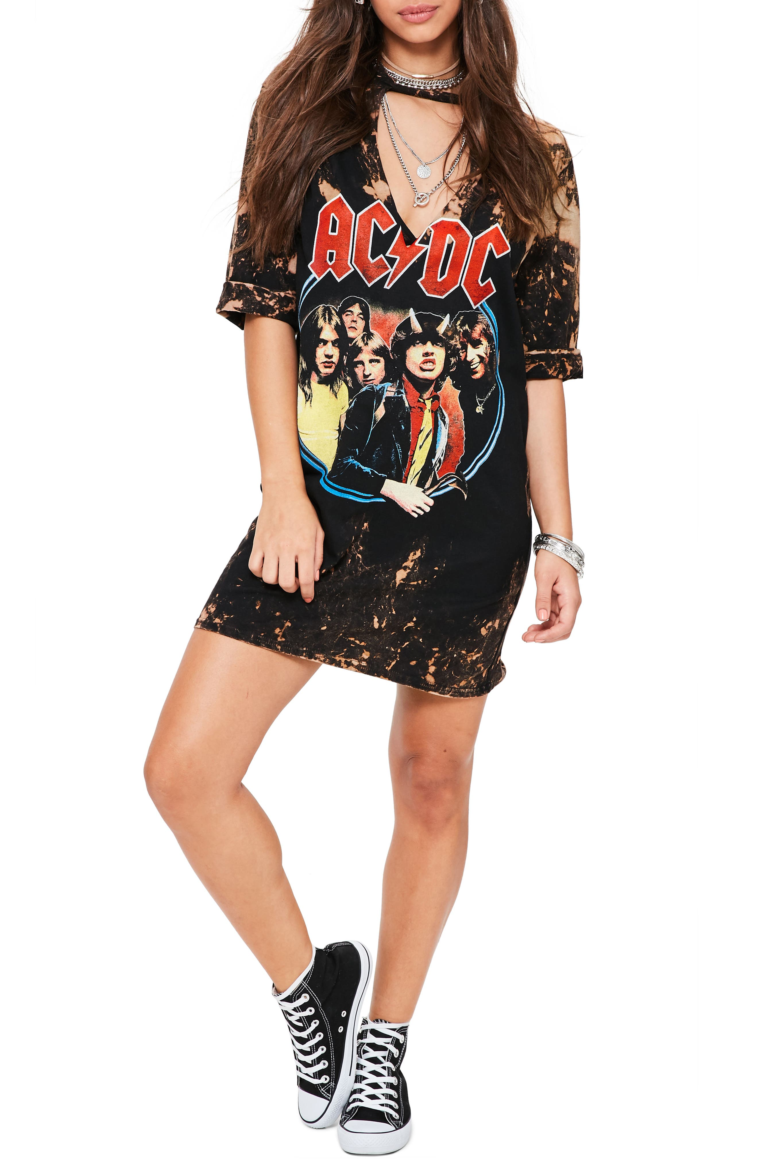 Alternate Image 1 Selected - Missguided Distressed T-Shirt Dress