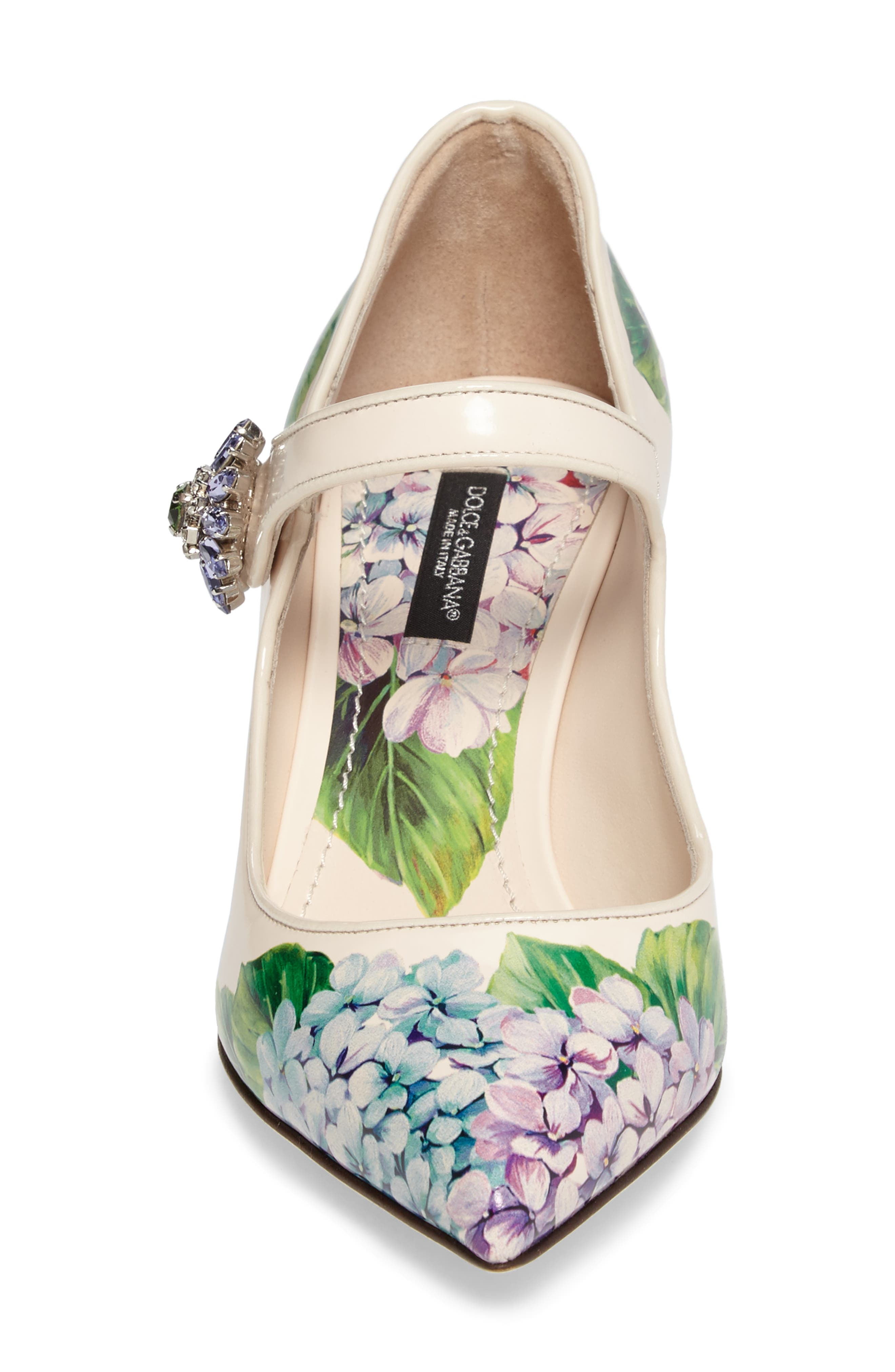 Hydrangea Mary Jane Pump,                             Alternate thumbnail 4, color,                             White Floral