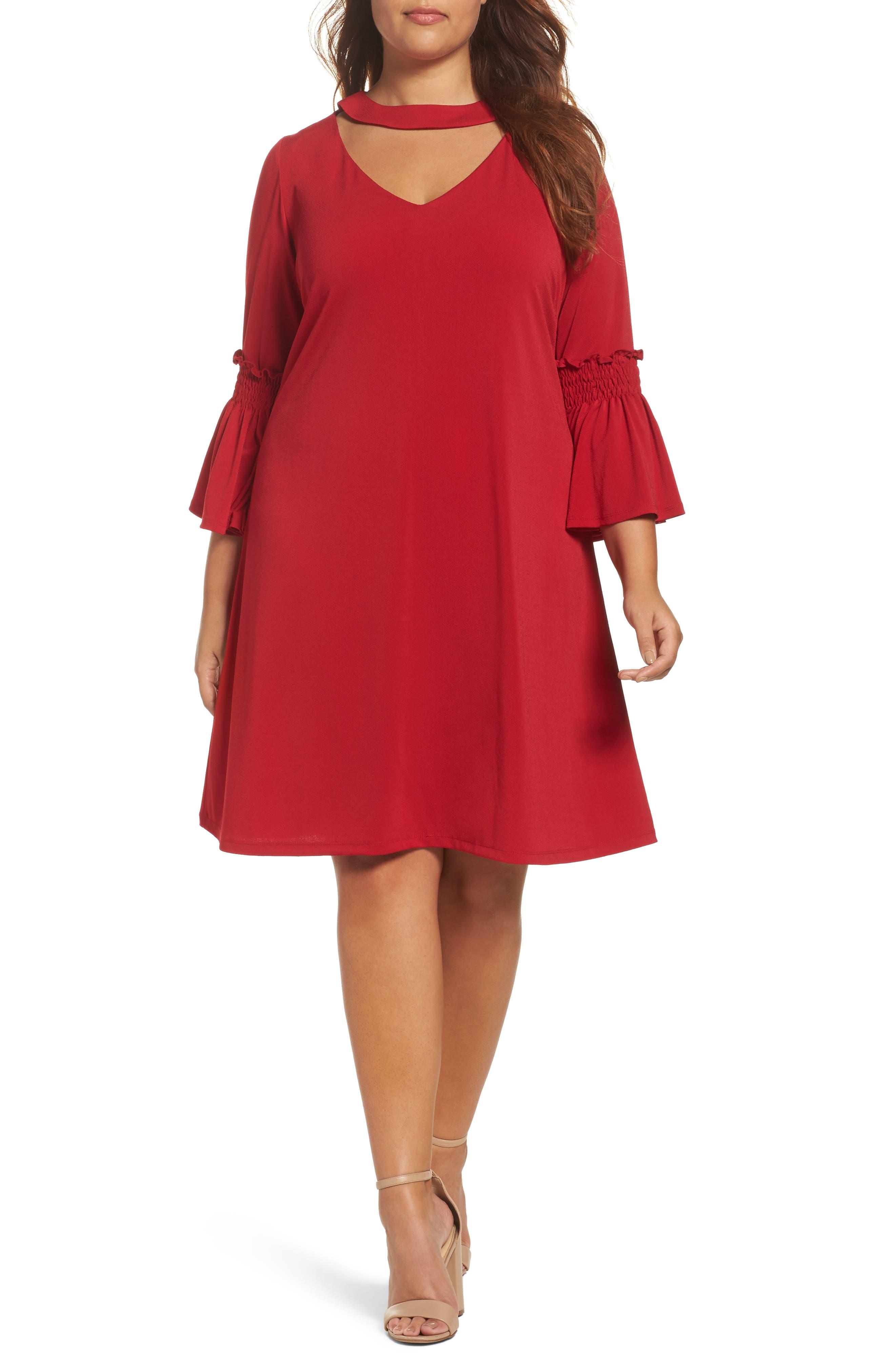 Main Image - Gabby Skye Bell Sleeve A-Line Choker Dress (Plus Size)