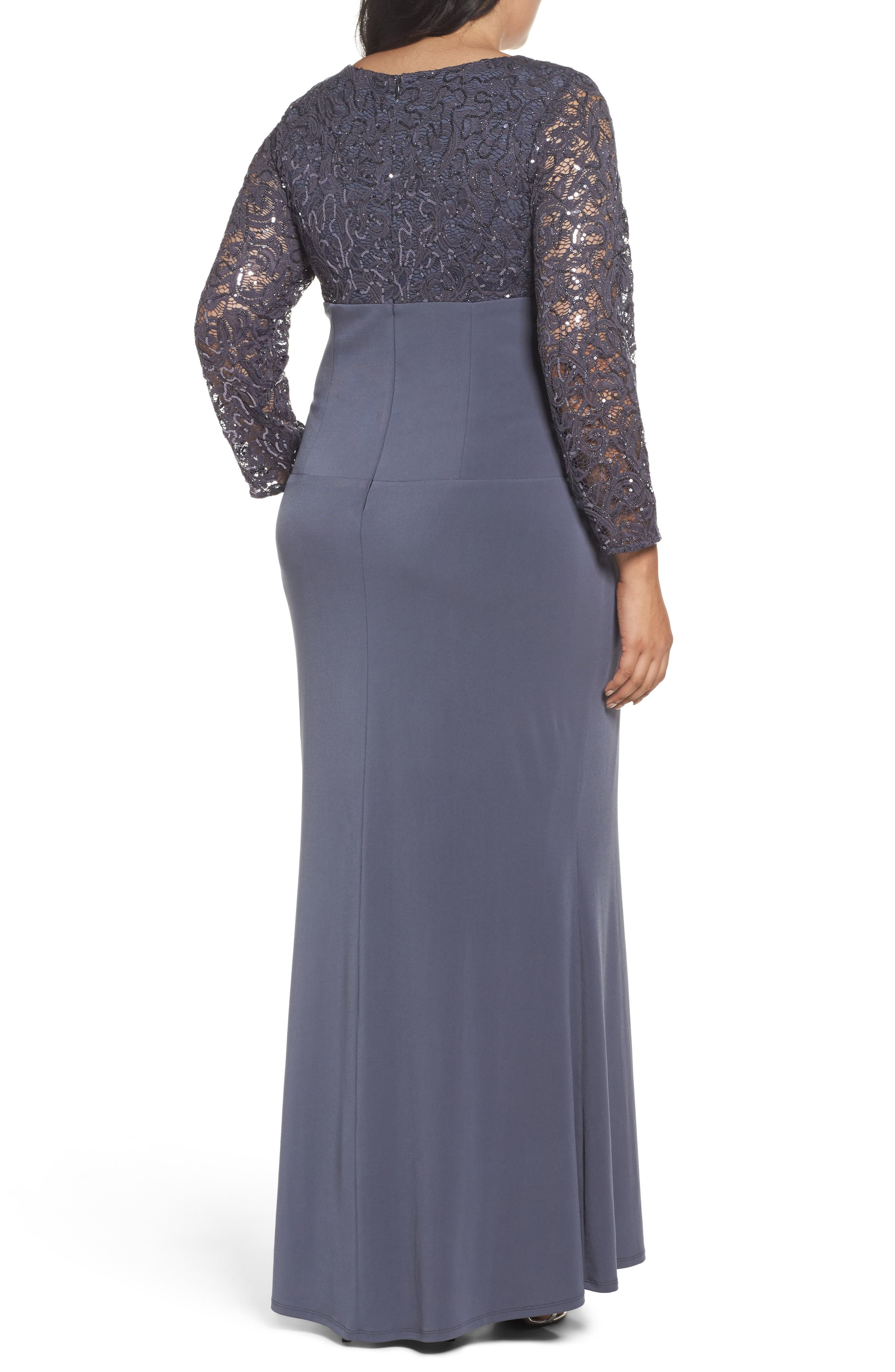 Sequin Lace & Jersey Mermaid Gown,                             Alternate thumbnail 2, color,                             Gunmetal