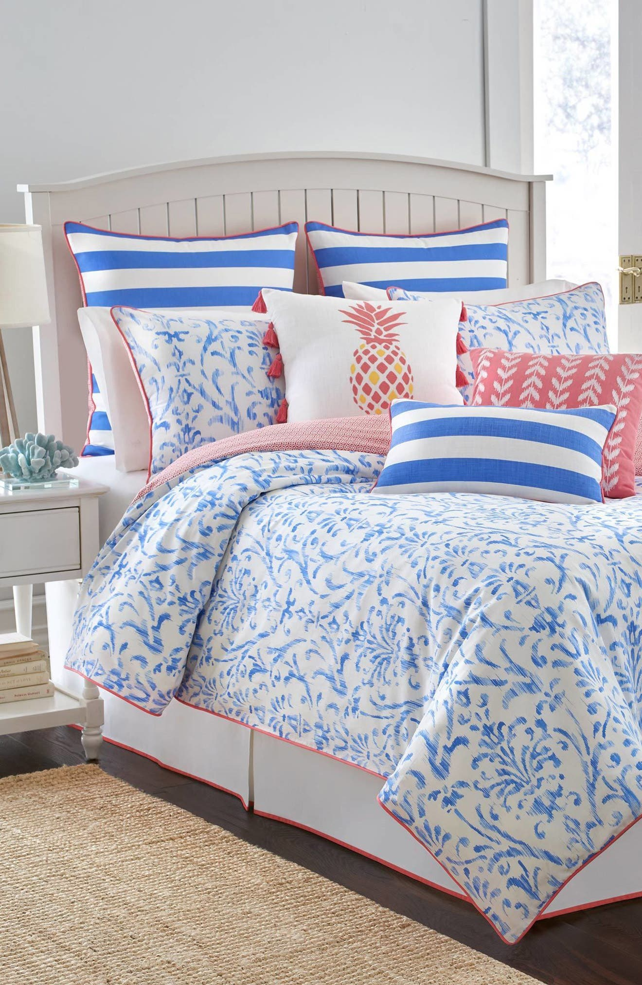 Coastal Ikat Comforter, Sham & Bed Skirt Set,                             Main thumbnail 1, color,                             Cool Water Blue