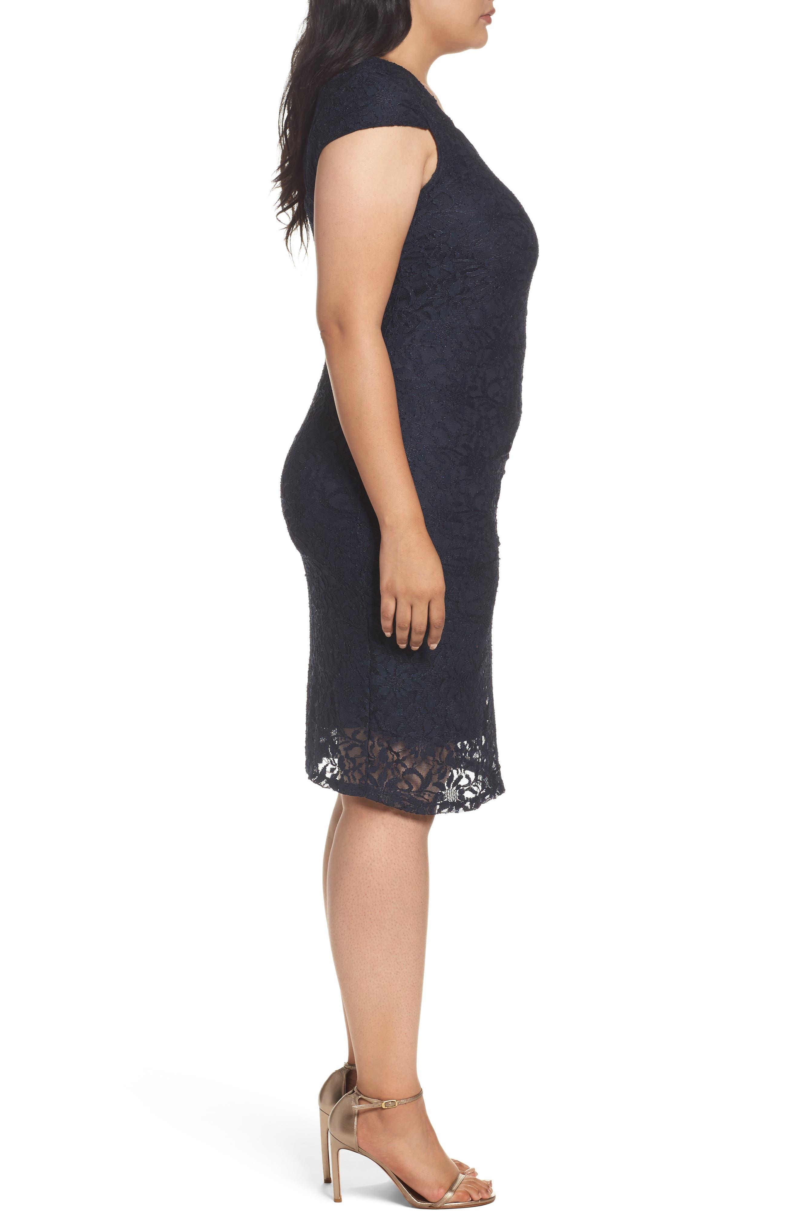 Alternate Image 3  - Marina Lace Cocktail Dress (Plus Size)