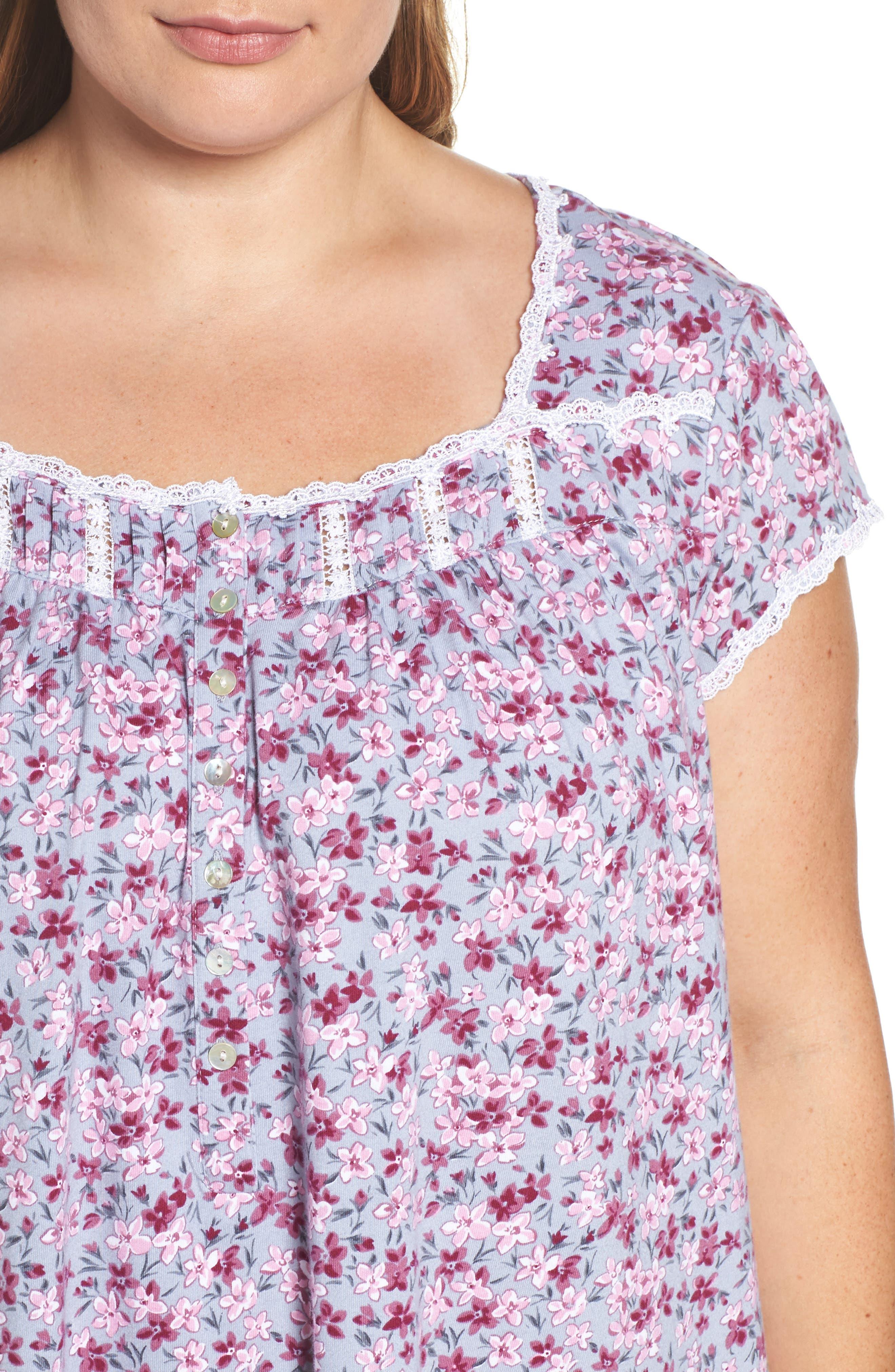 Alternate Image 4  - Eileen West Floral Print Waltz Nightgown (Plus Size)