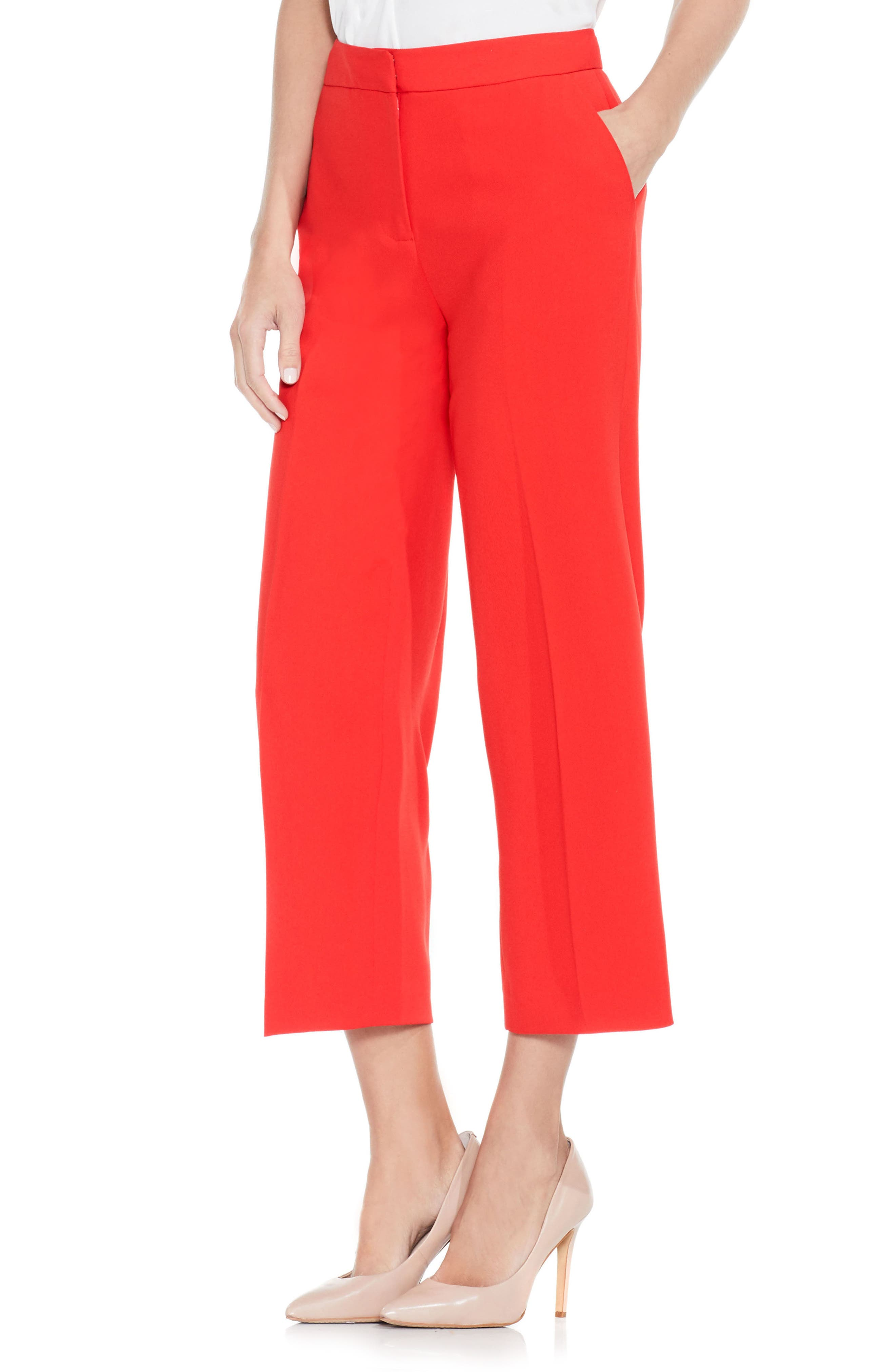 VINCE CAMUTO Texture Base Straight Leg Crop Pants