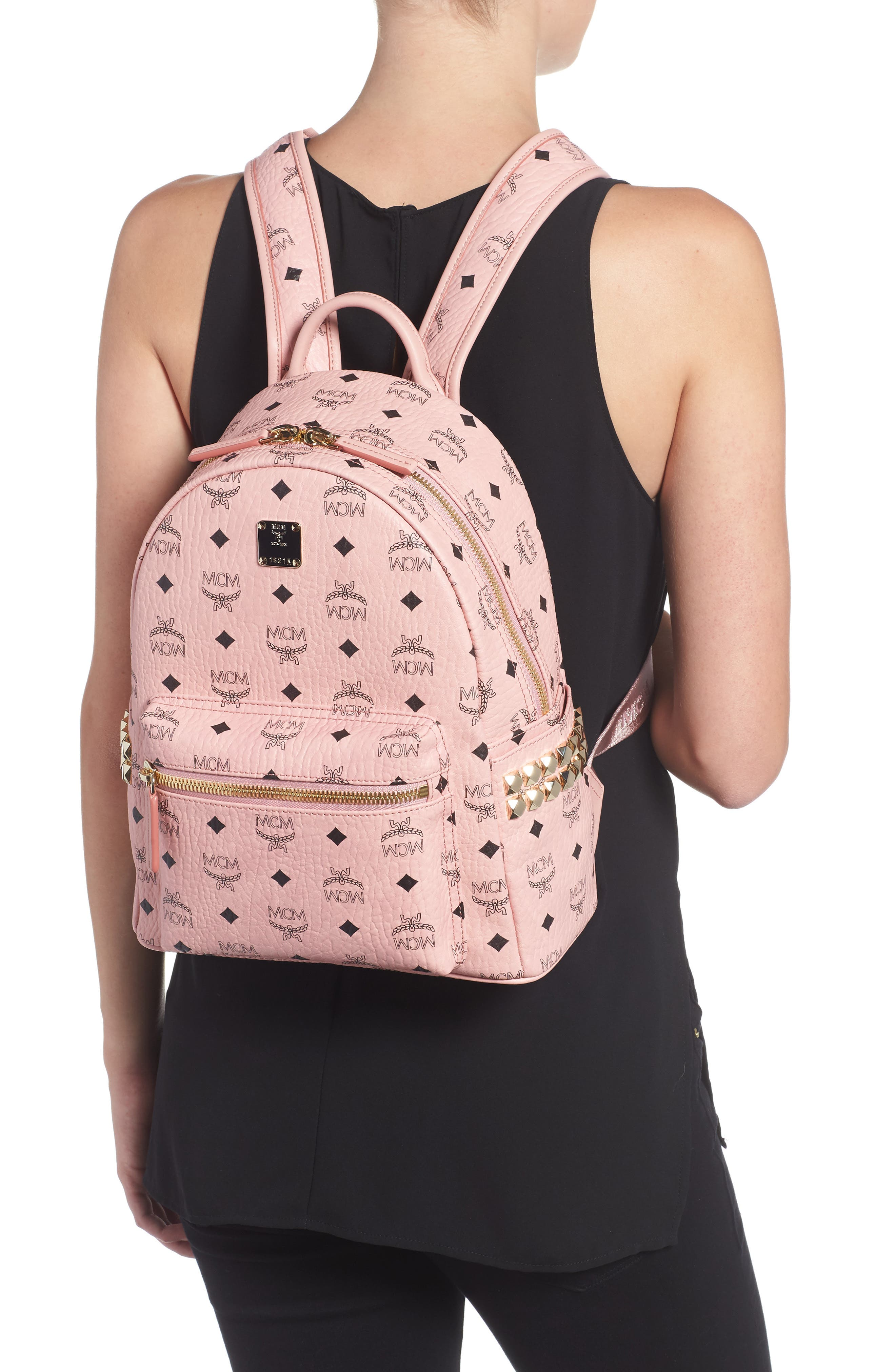 Alternate Image 2  - MCM Small Stark Side Stud Coated Canvas Backpack