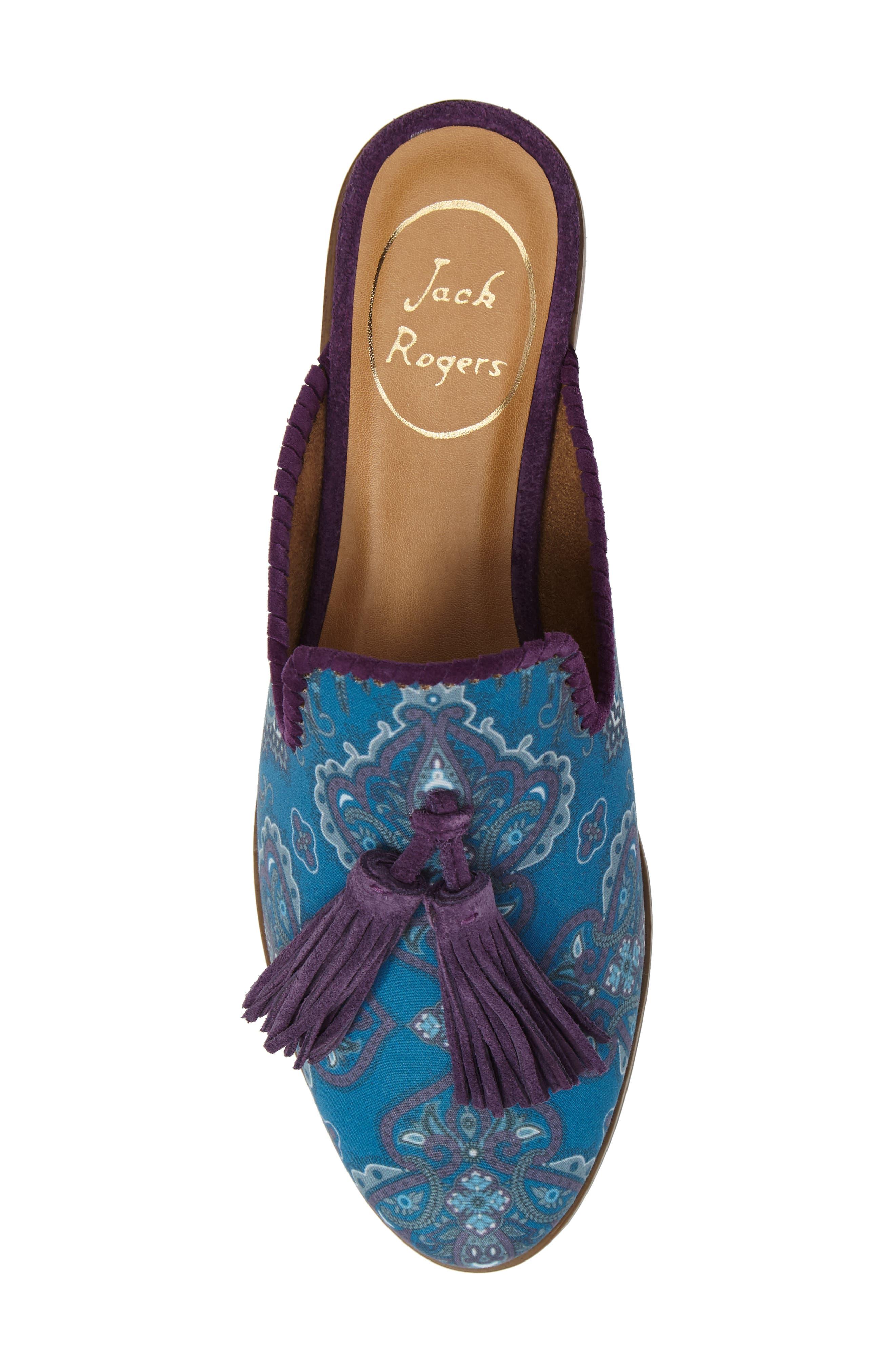 Delaney Tassel Mule,                             Alternate thumbnail 5, color,                             Blue Paisley Fabric