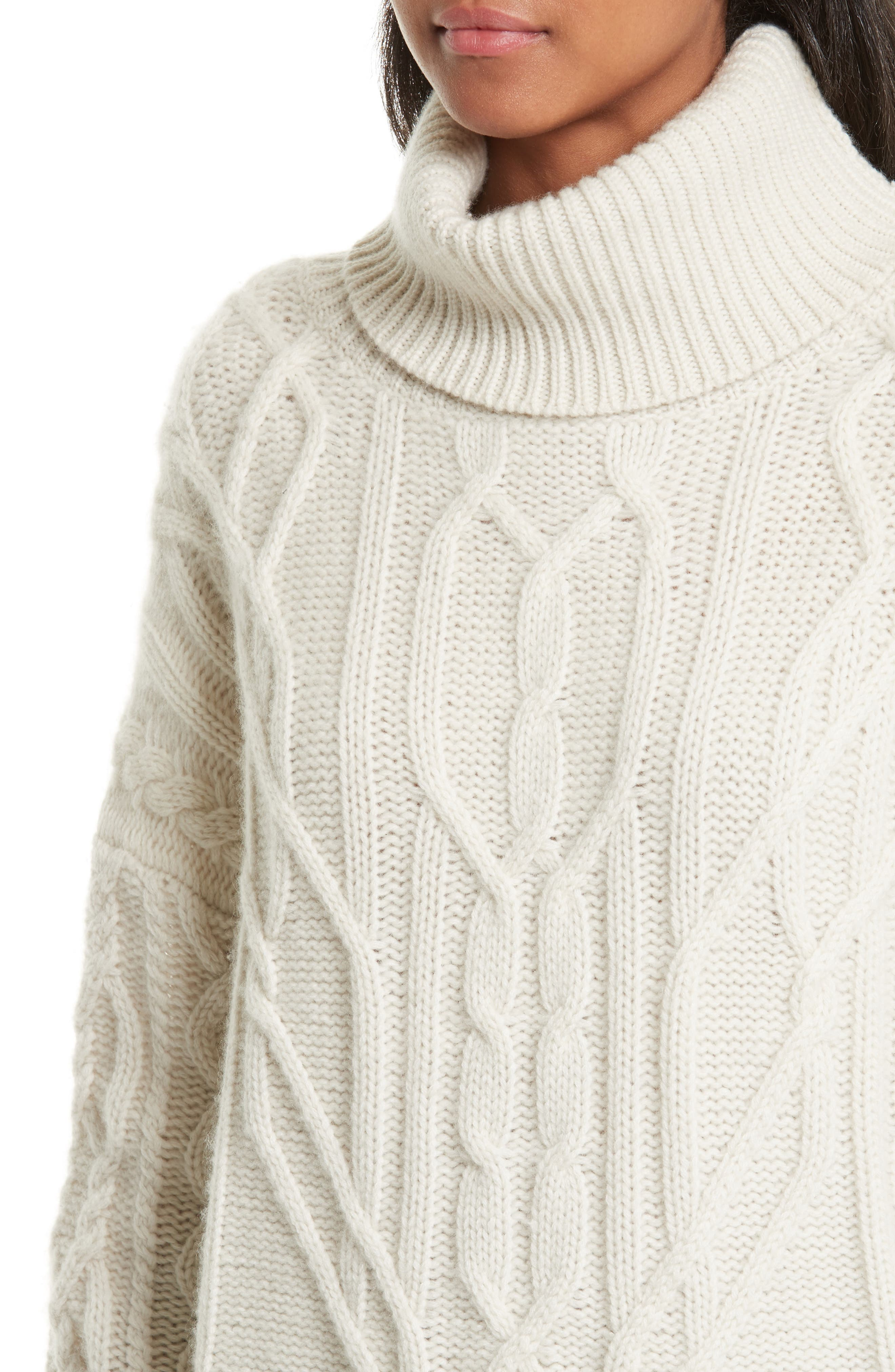 Cecil Cable Knit Cashmere Turtleneck Sweater,                             Alternate thumbnail 4, color,                             Ivory