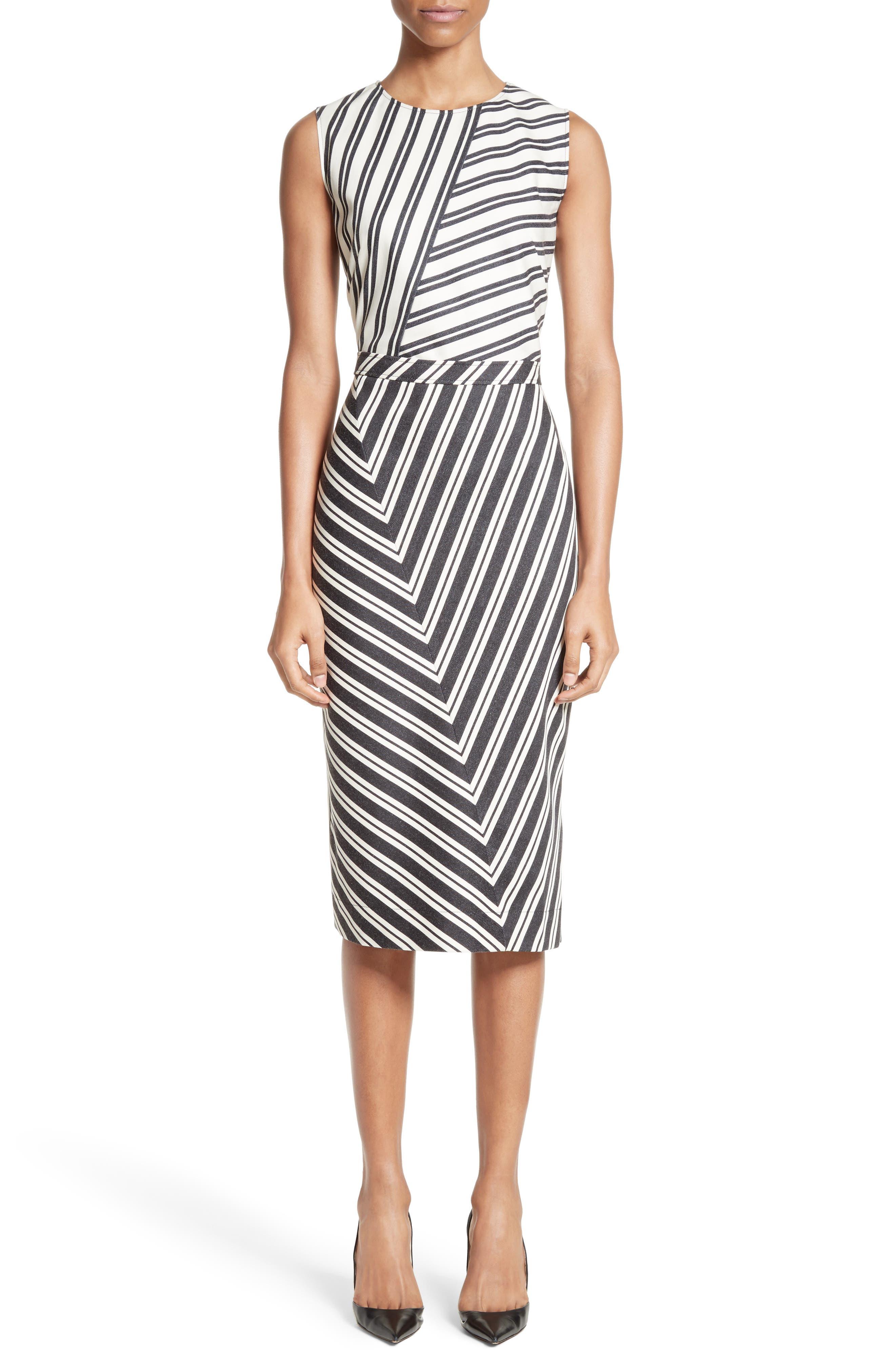 Altuzzara Desdemona Stripe Stretch Wool & Cotton Sheath Dress