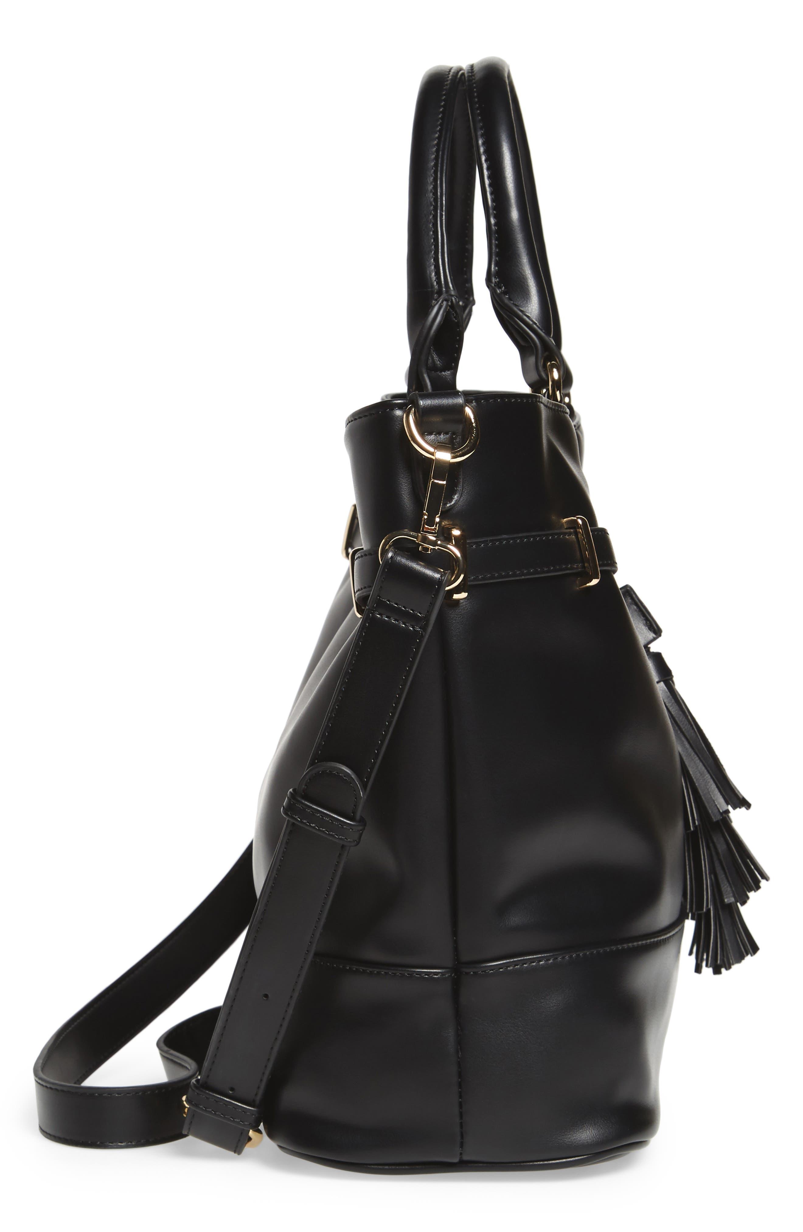 Ryka Tassel Faux Leather Tote,                             Alternate thumbnail 3, color,                             Black