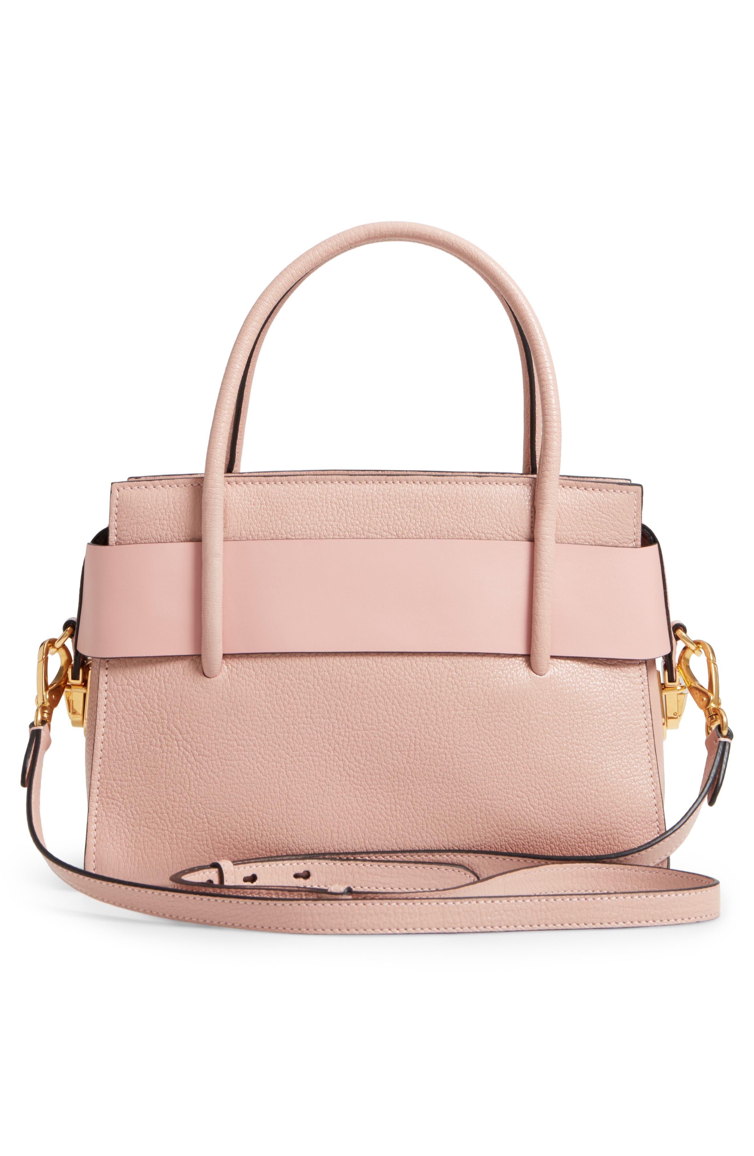 Madras Ficco Leather Satchel,                             Alternate thumbnail 3, color,                             Pink