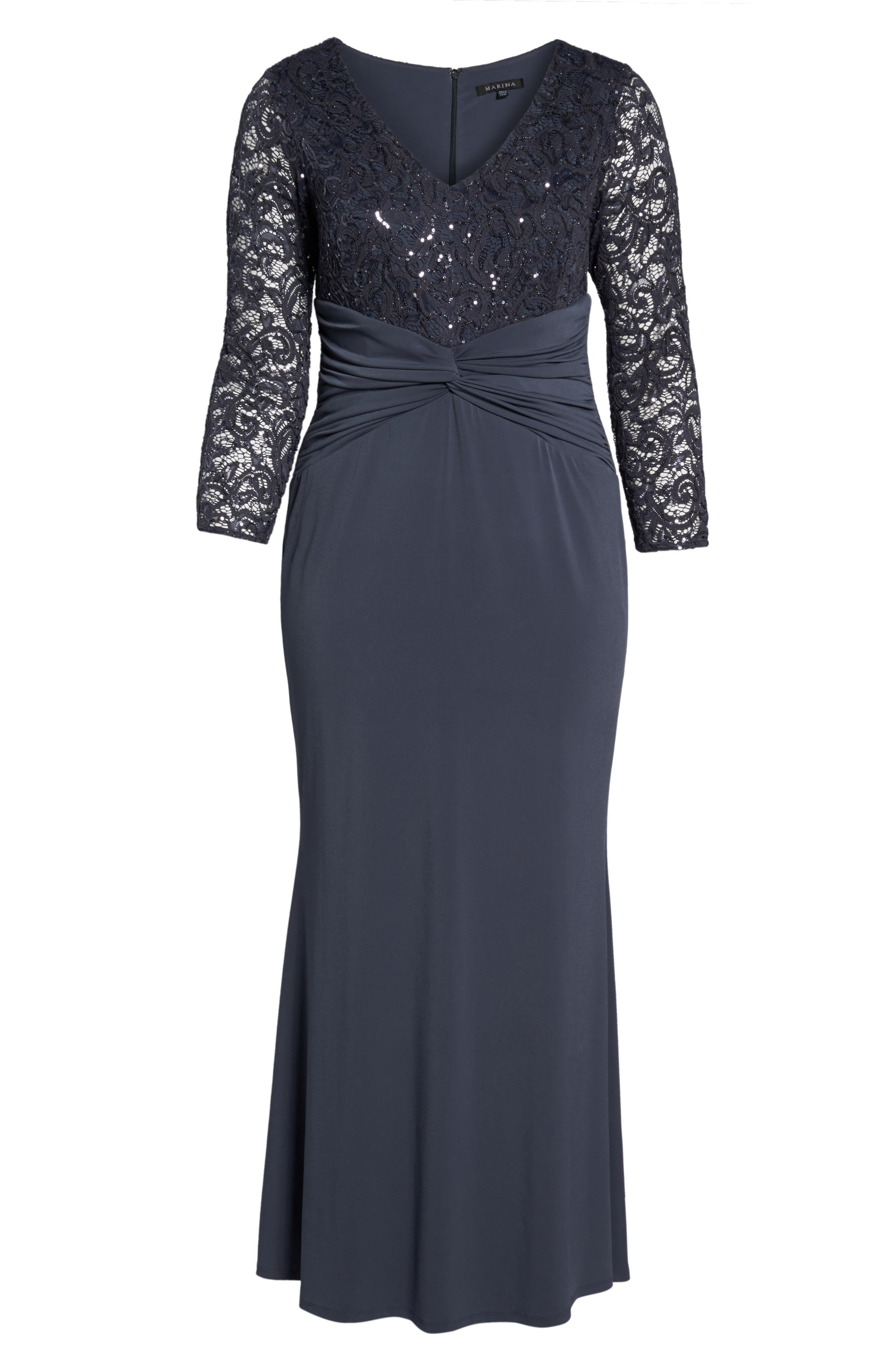 Sequin Lace & Jersey Mermaid Gown,                             Alternate thumbnail 6, color,                             Gunmetal