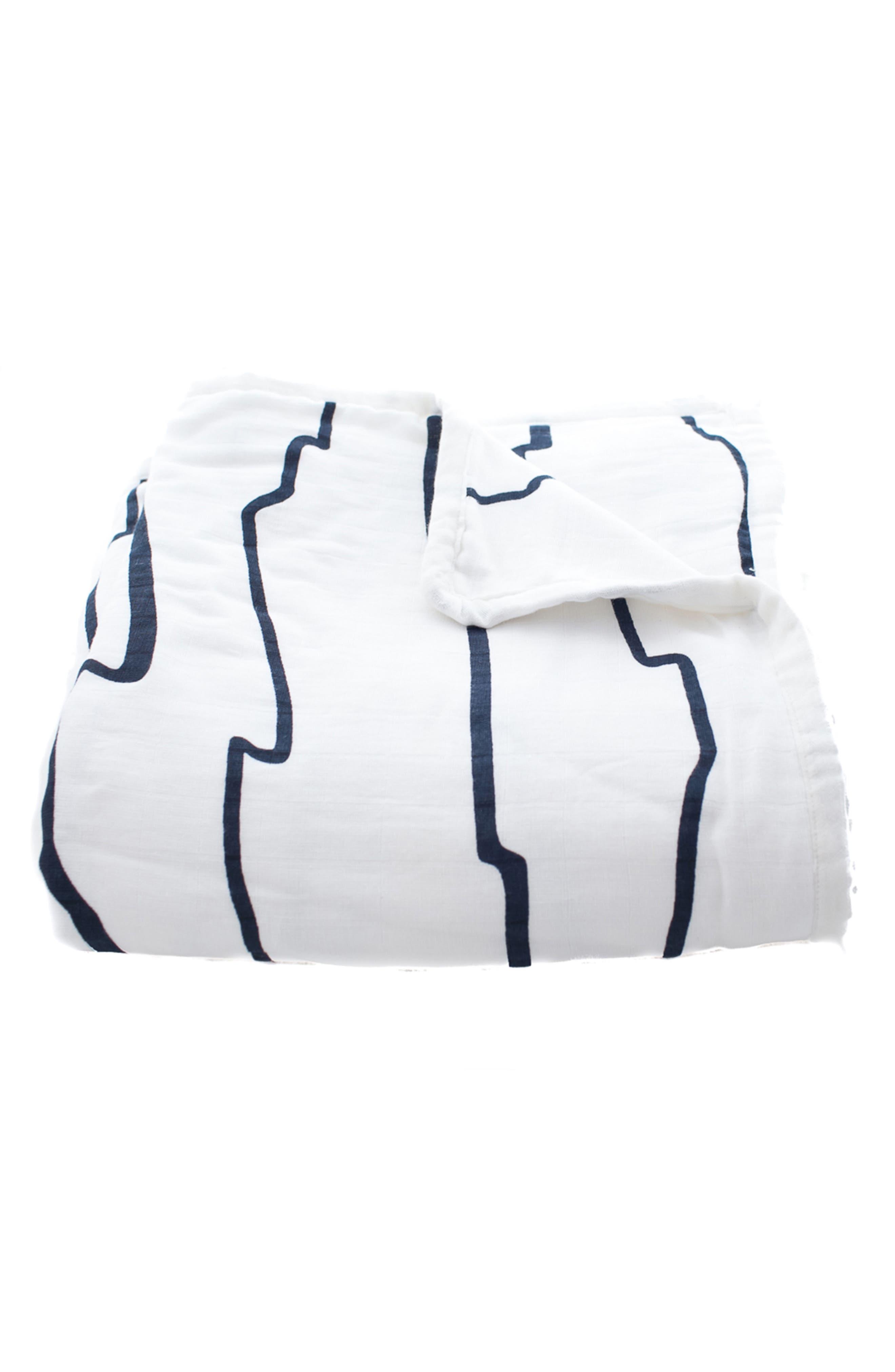 Mia Organic Cotton Blanket,                         Main,                         color, Navy