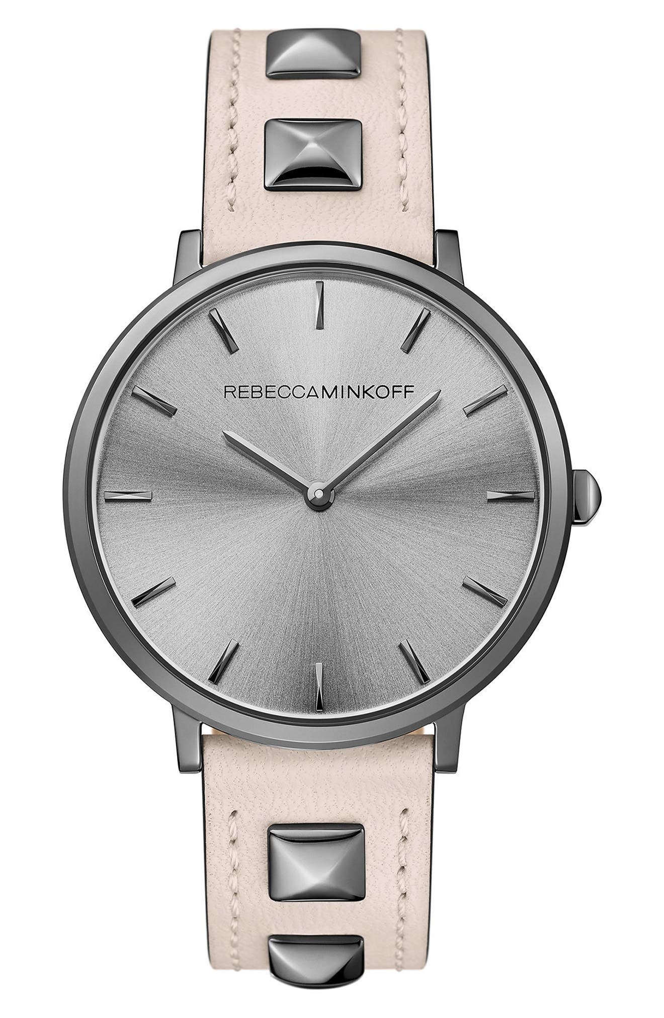 Alternate Image 1 Selected - Rebecca Minkoff Major Stud Leather Strap Watch, 35mm