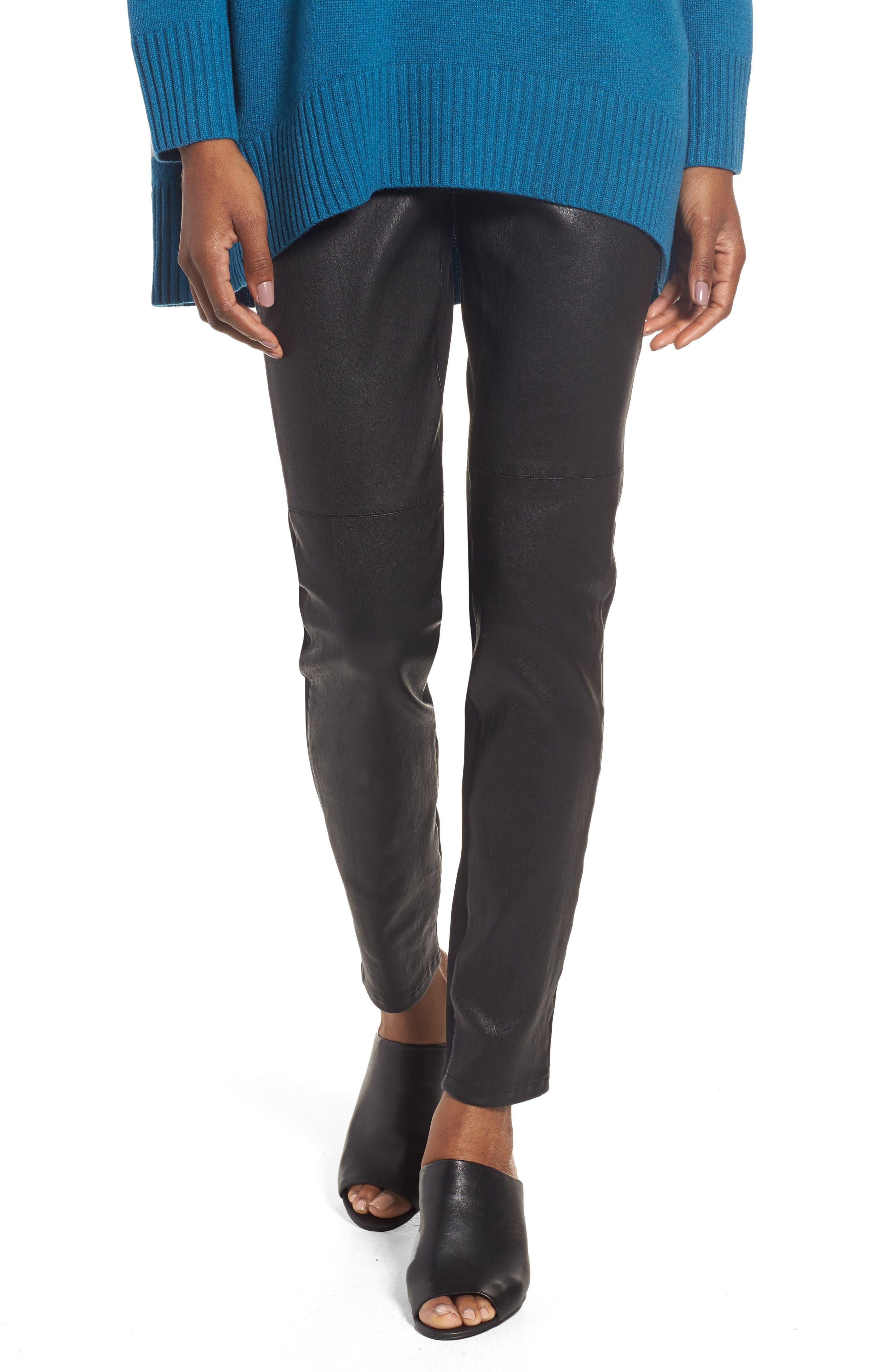 Leather Blocked Leggings,                             Main thumbnail 1, color,                             Black