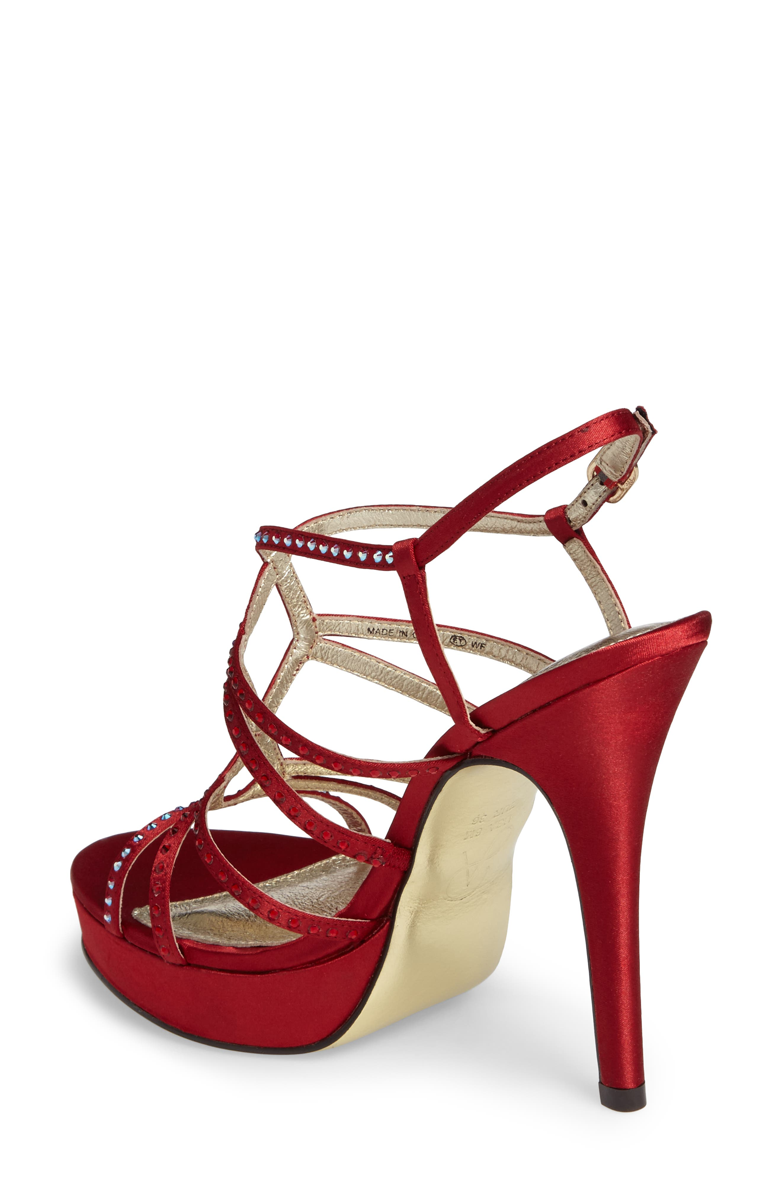 Miranda Embellished Platform Sandal,                             Alternate thumbnail 2, color,                             Red Classic Satin