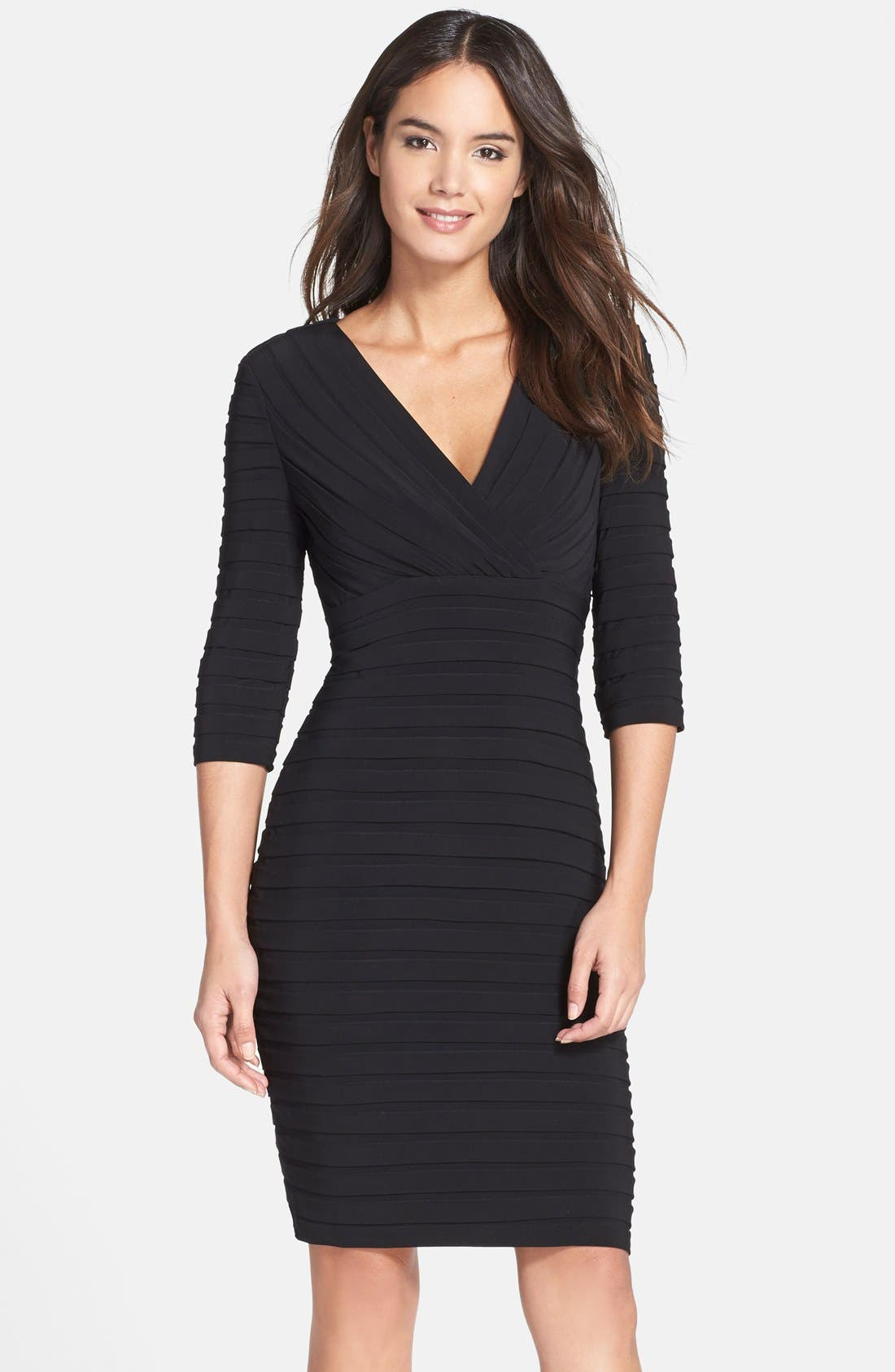 Alternate Image 1 Selected - Adrianna Papell Pleated Jersey Sheath Dress (Regular & Petite)
