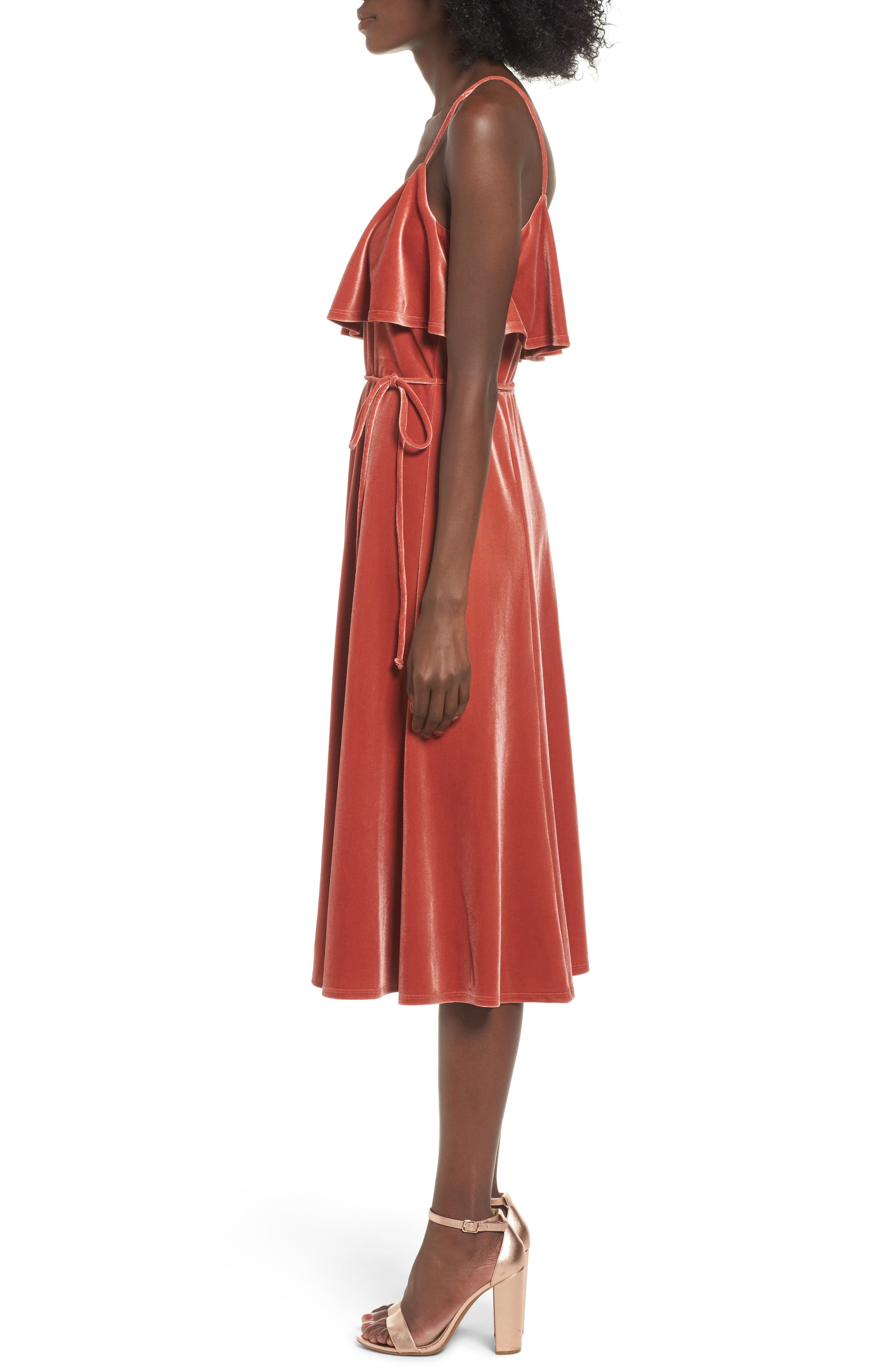 Velvet Midi Dress,                             Alternate thumbnail 3, color,                             Rust Marsala