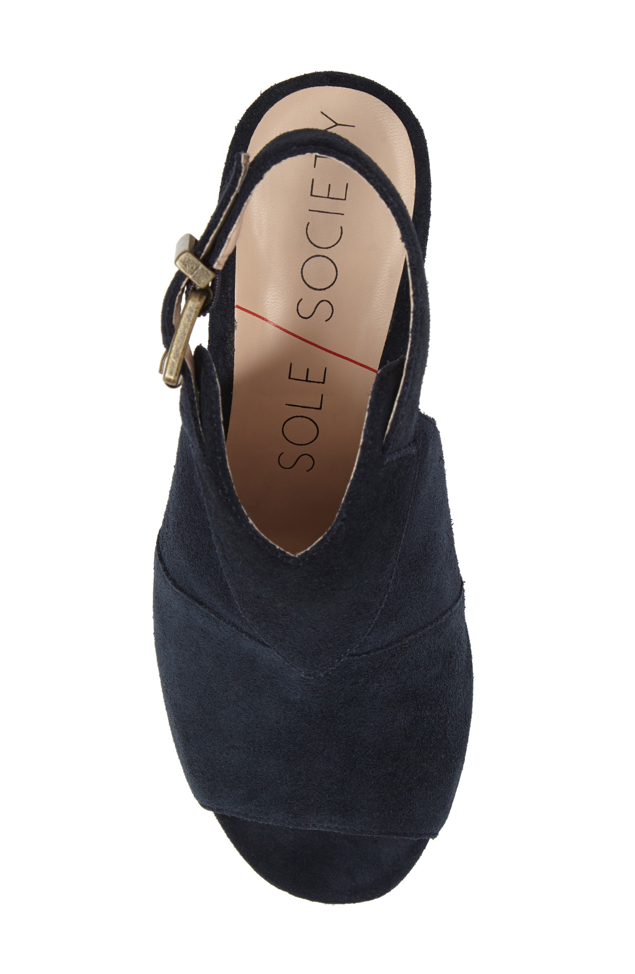 Zuma Peep Toe Bootie,                             Alternate thumbnail 5, color,                             Ink Navy Suede