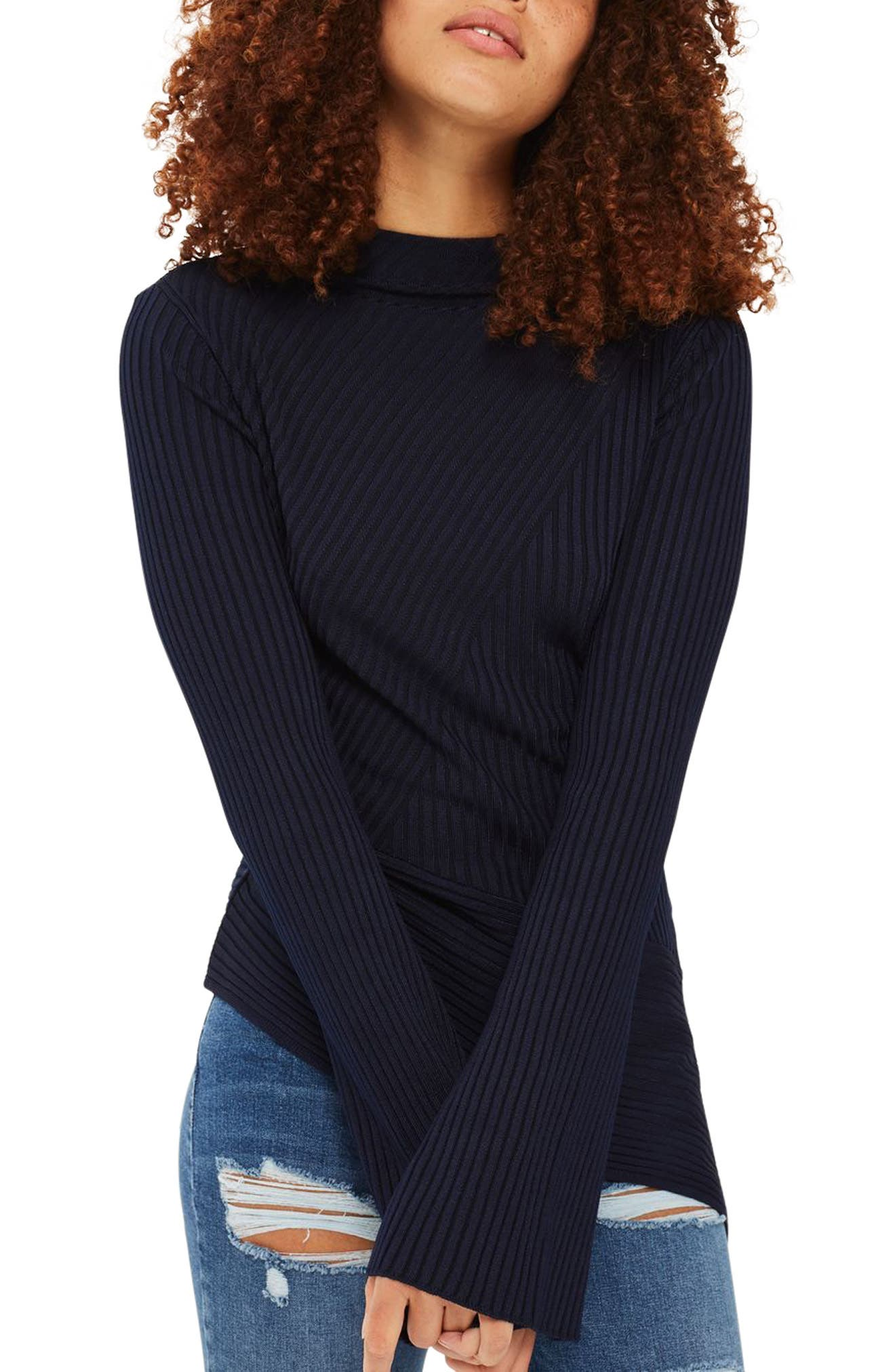 Alternate Image 1 Selected - Topshop Asymmetrical Ribbed Sweater