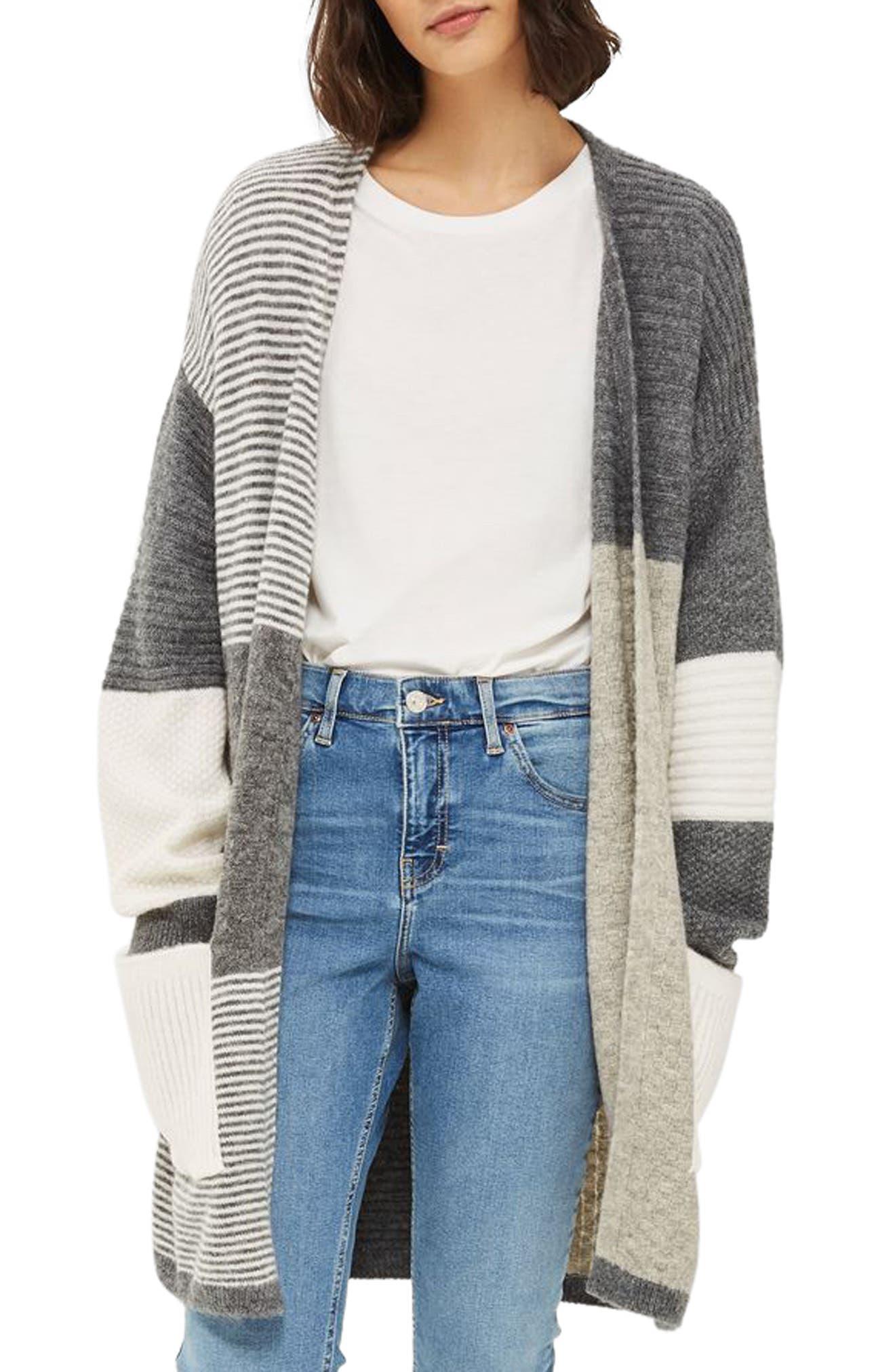 Patchwork Marled Cardigan,                         Main,                         color, Grey