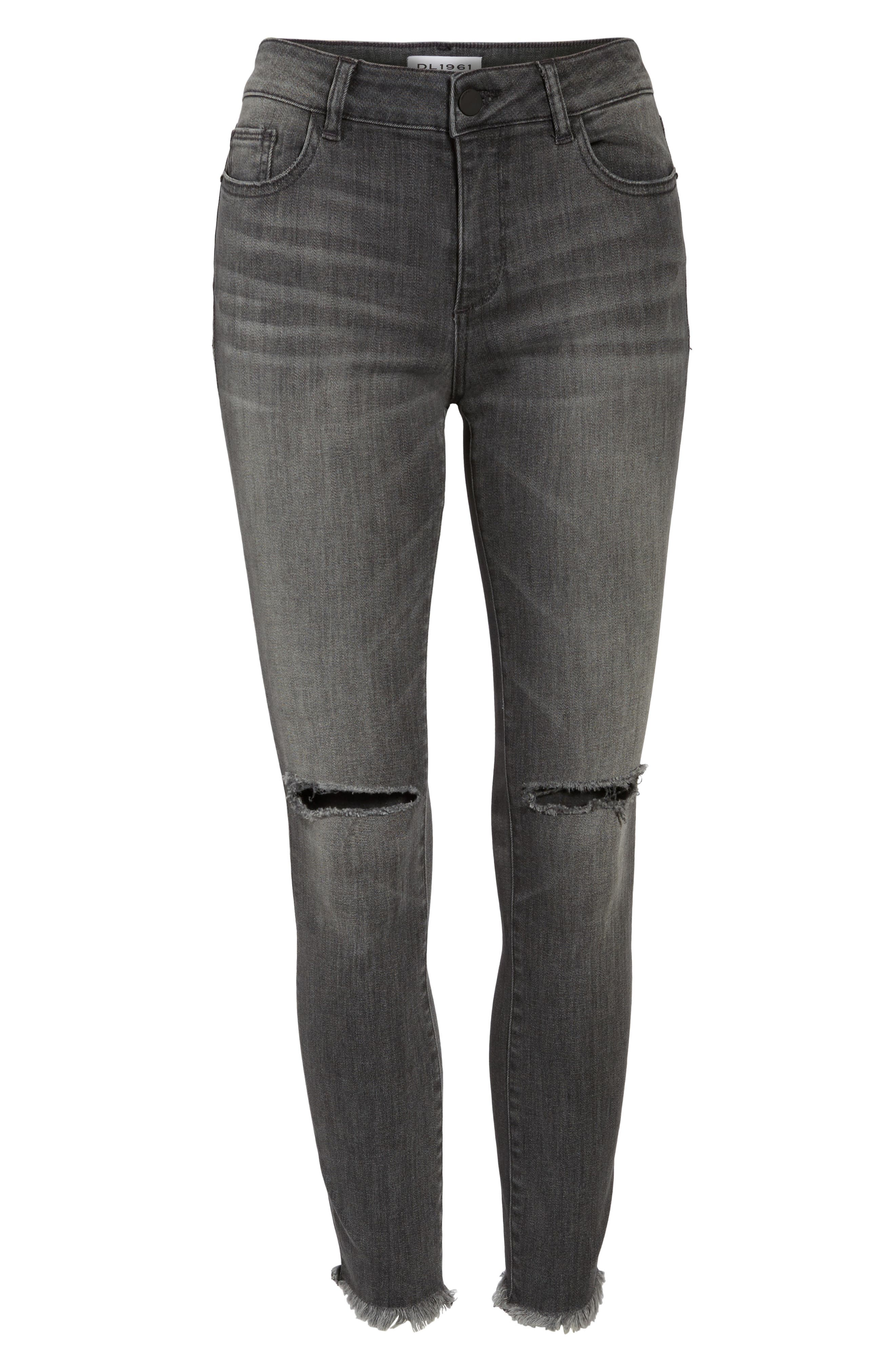 Margaux Ripped Ankle Skinny Jeans,                             Alternate thumbnail 6, color,                             Quaker