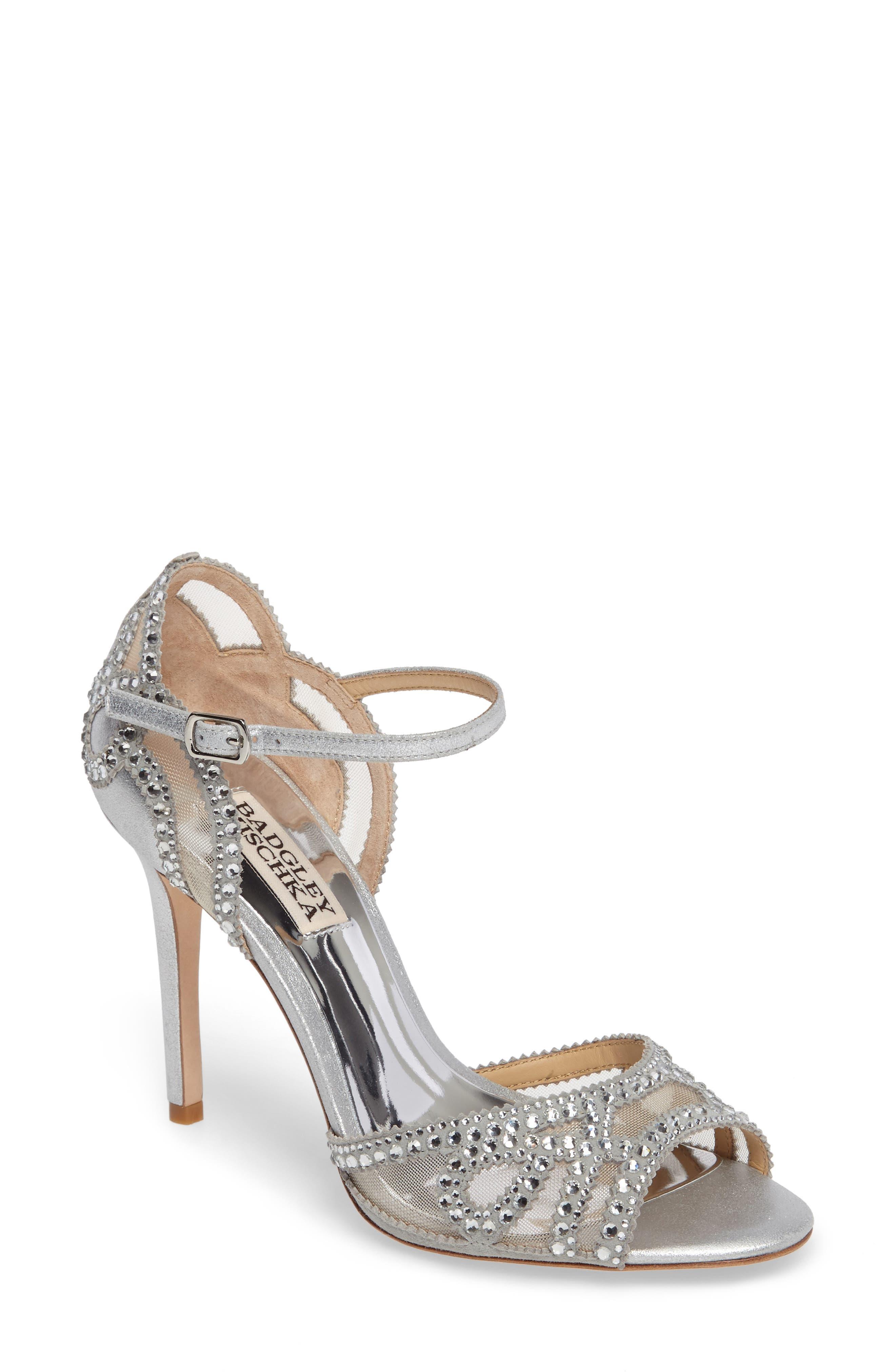 Embellished Mesh Sandal,                         Main,                         color, Silver Metallic Suede