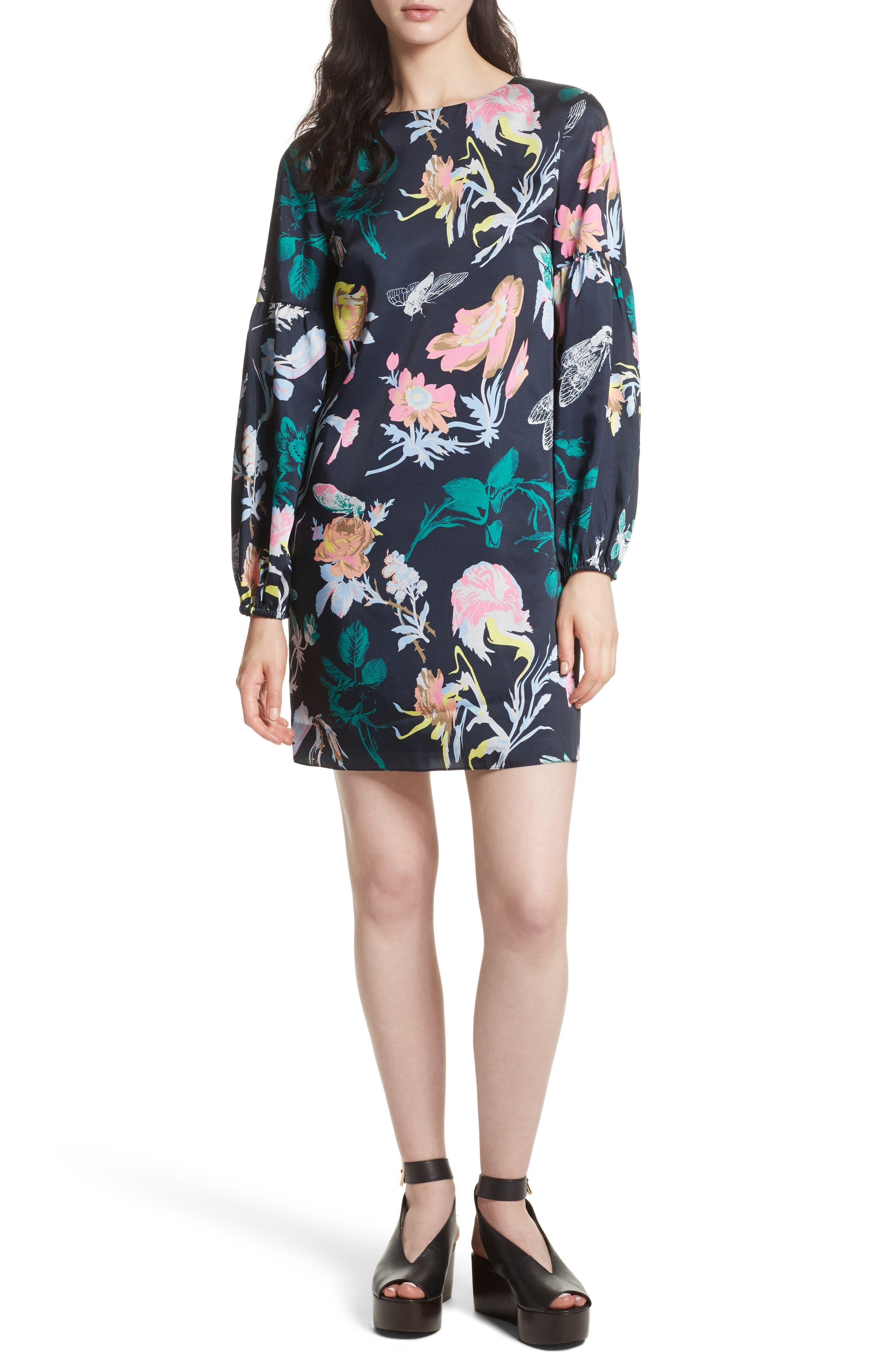 Tibi Blouson Sleeve Floral Shift Dress
