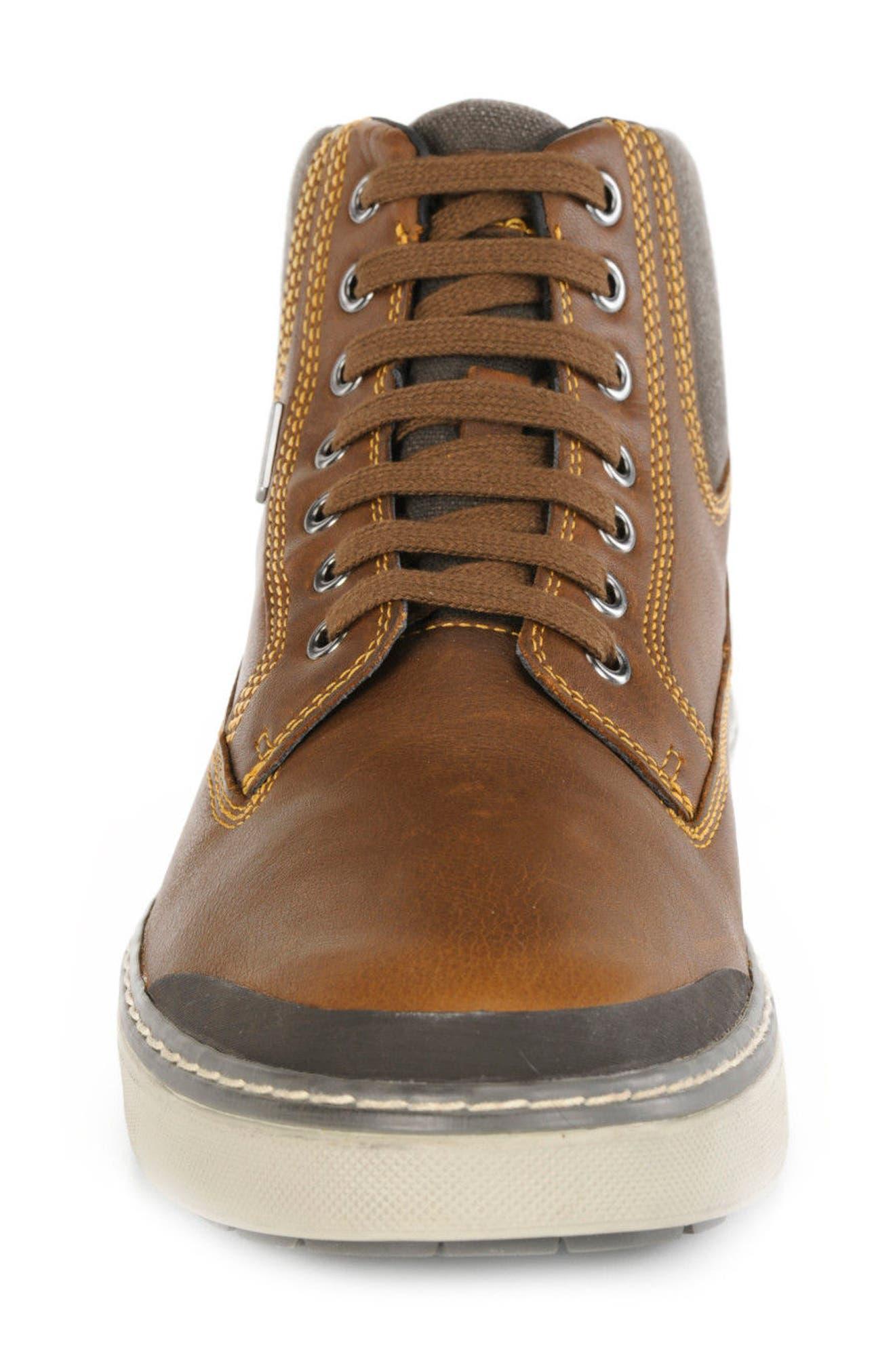 Mattias Amphibiox Waterproof Leather Sneaker,                             Alternate thumbnail 4, color,                             Brown/ Brown