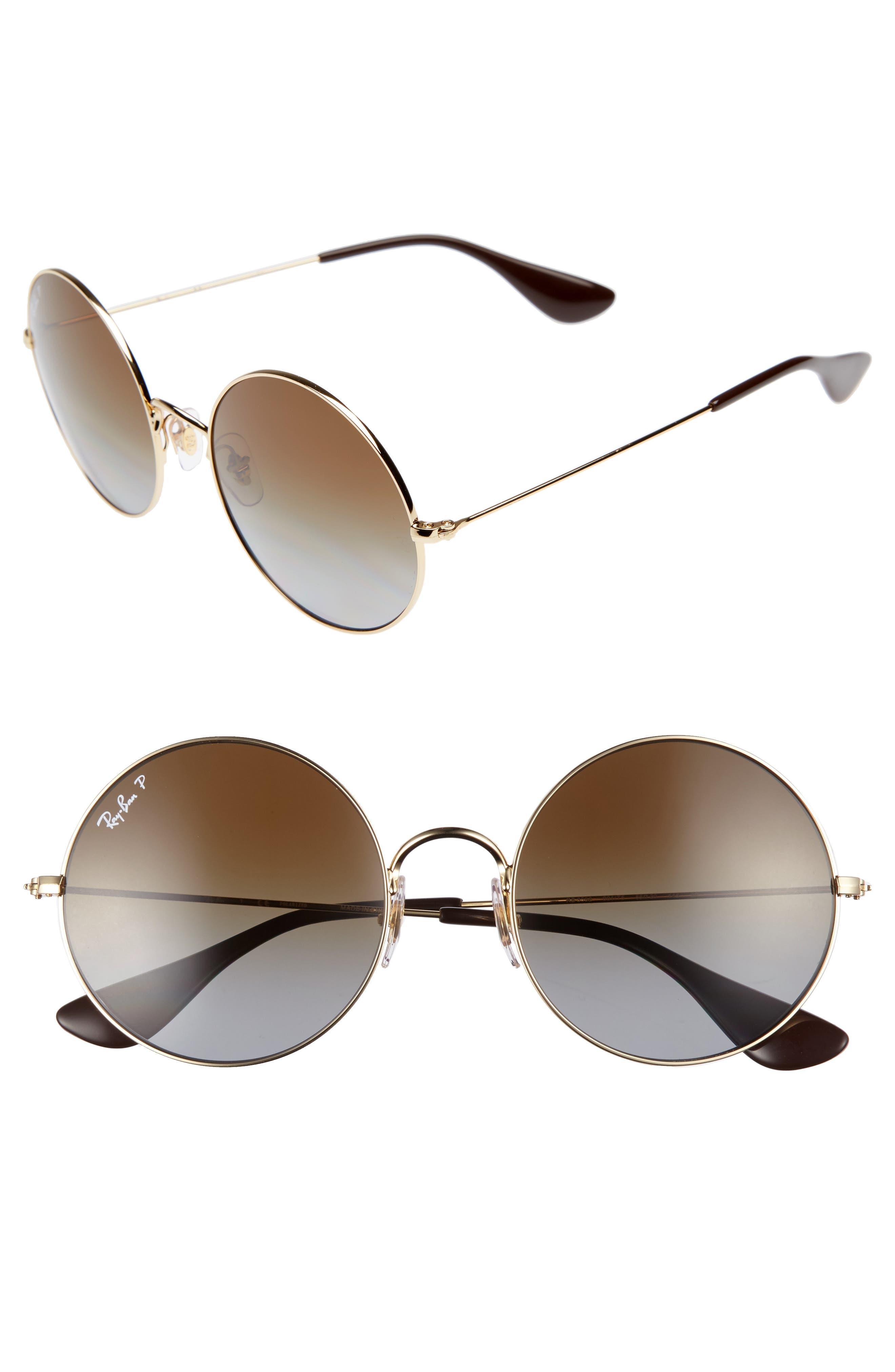 Main Image - Ray-Ban 55mm Polarized Round Sunglasses