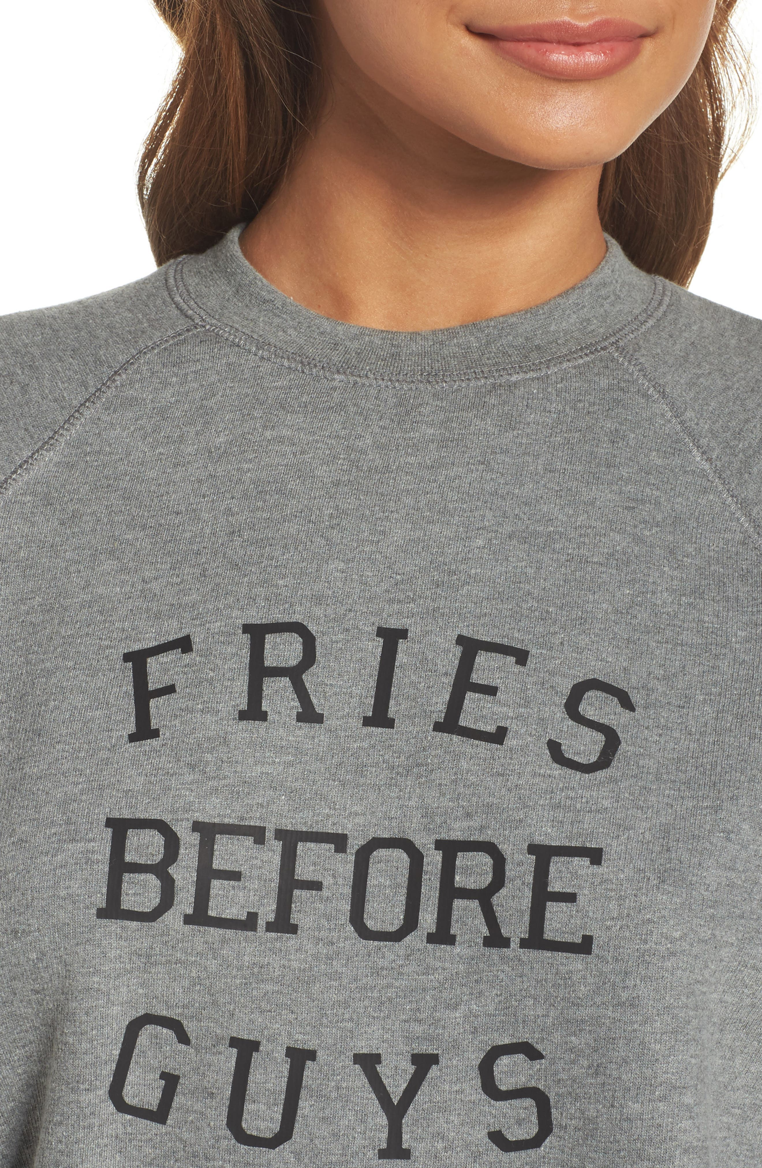 Fries Before Guys Sweatshirt,                             Alternate thumbnail 5, color,                             Grey