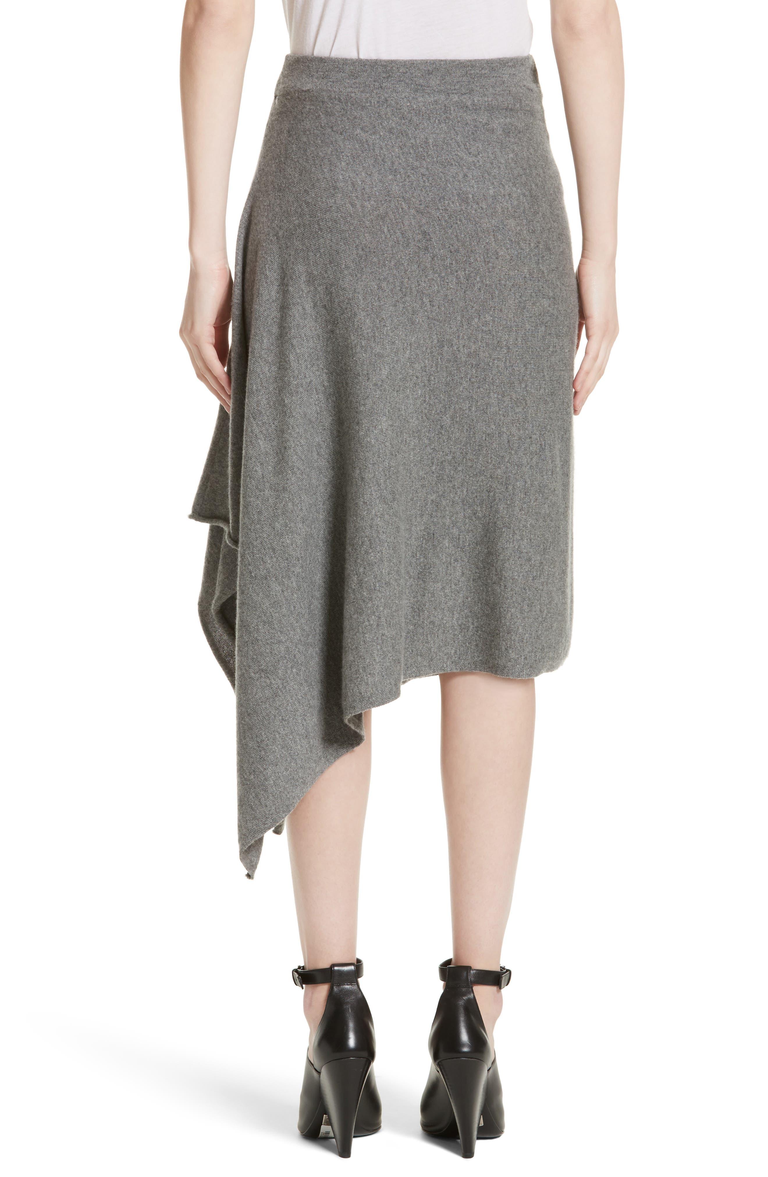 Cashmere Handkerchief Hem Skirt,                             Alternate thumbnail 3, color,                             Banker Mlange