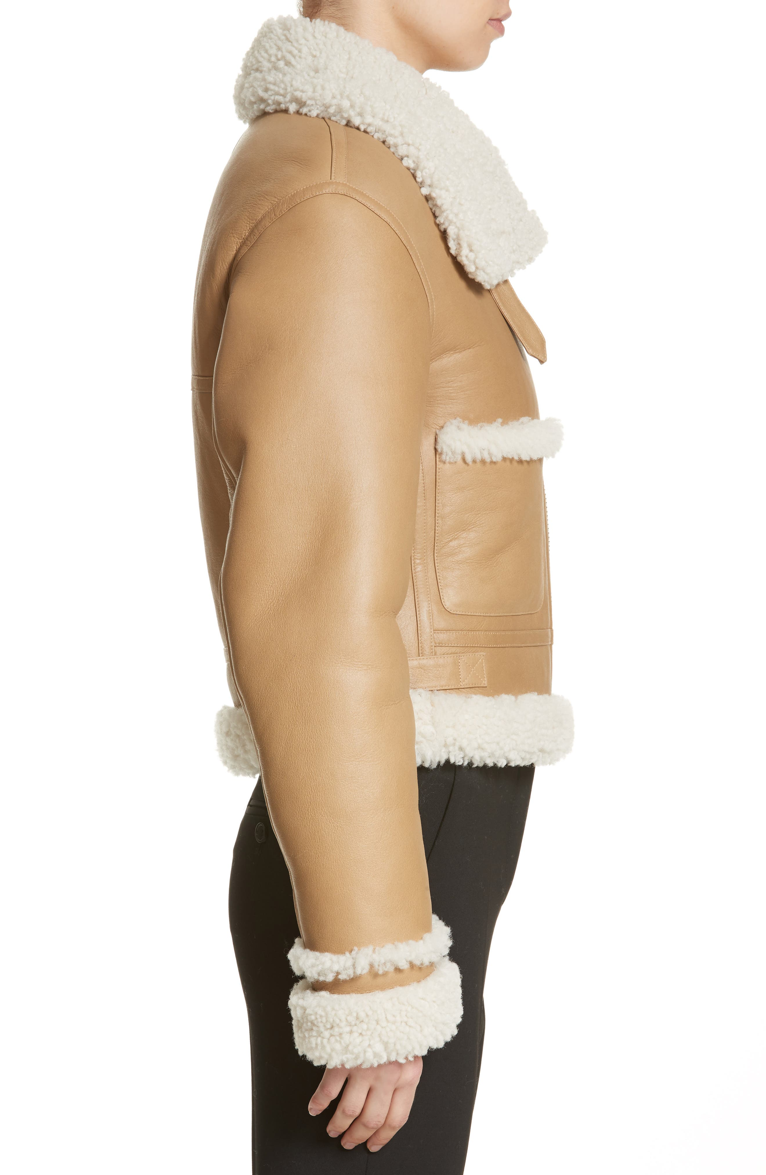 Alternate Image 3  - Michael Kors Genuine Shearling Moto Jacket