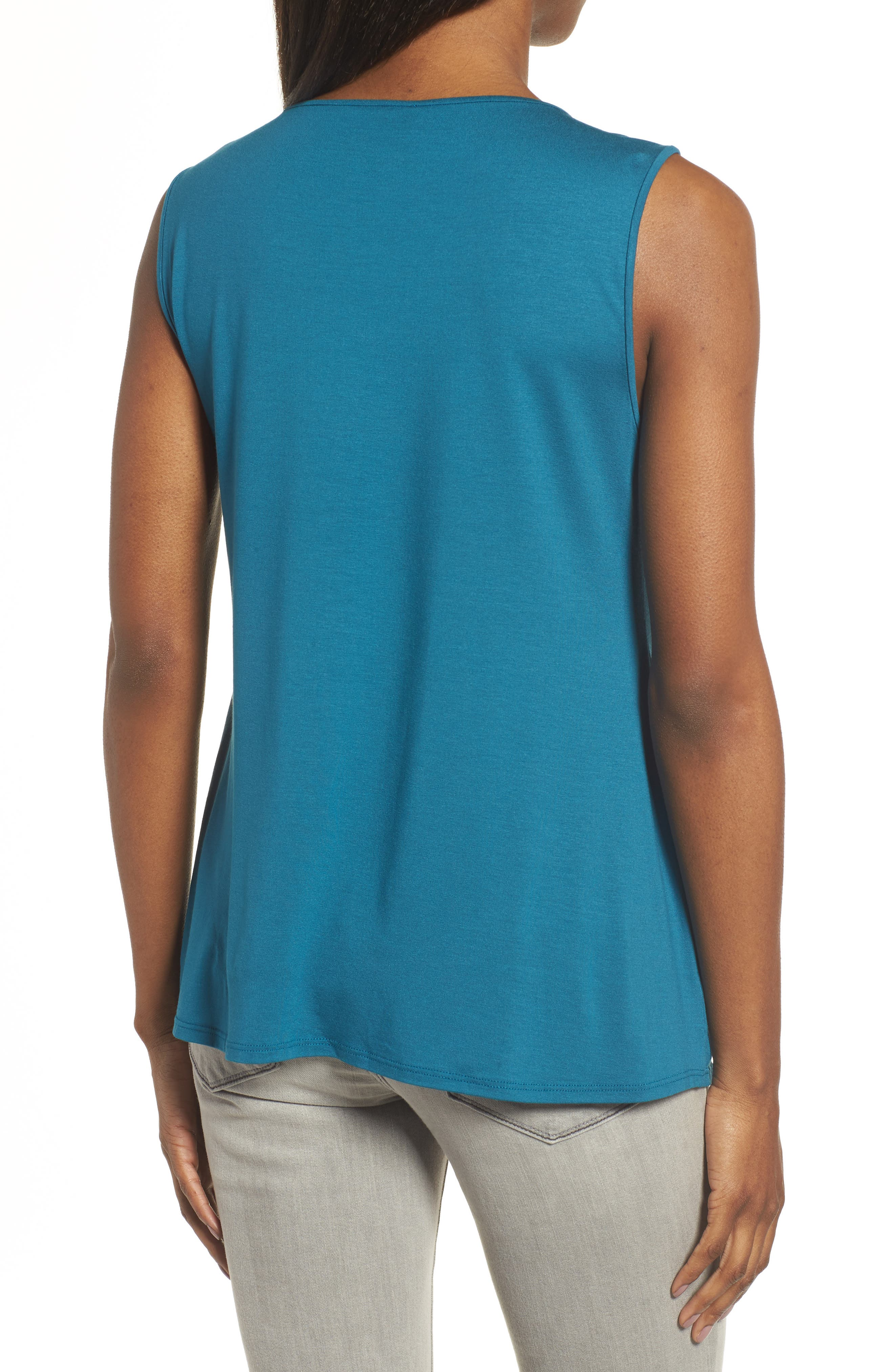 Lightweight Jersey Round Neck Tank,                             Alternate thumbnail 2, color,                             Nile