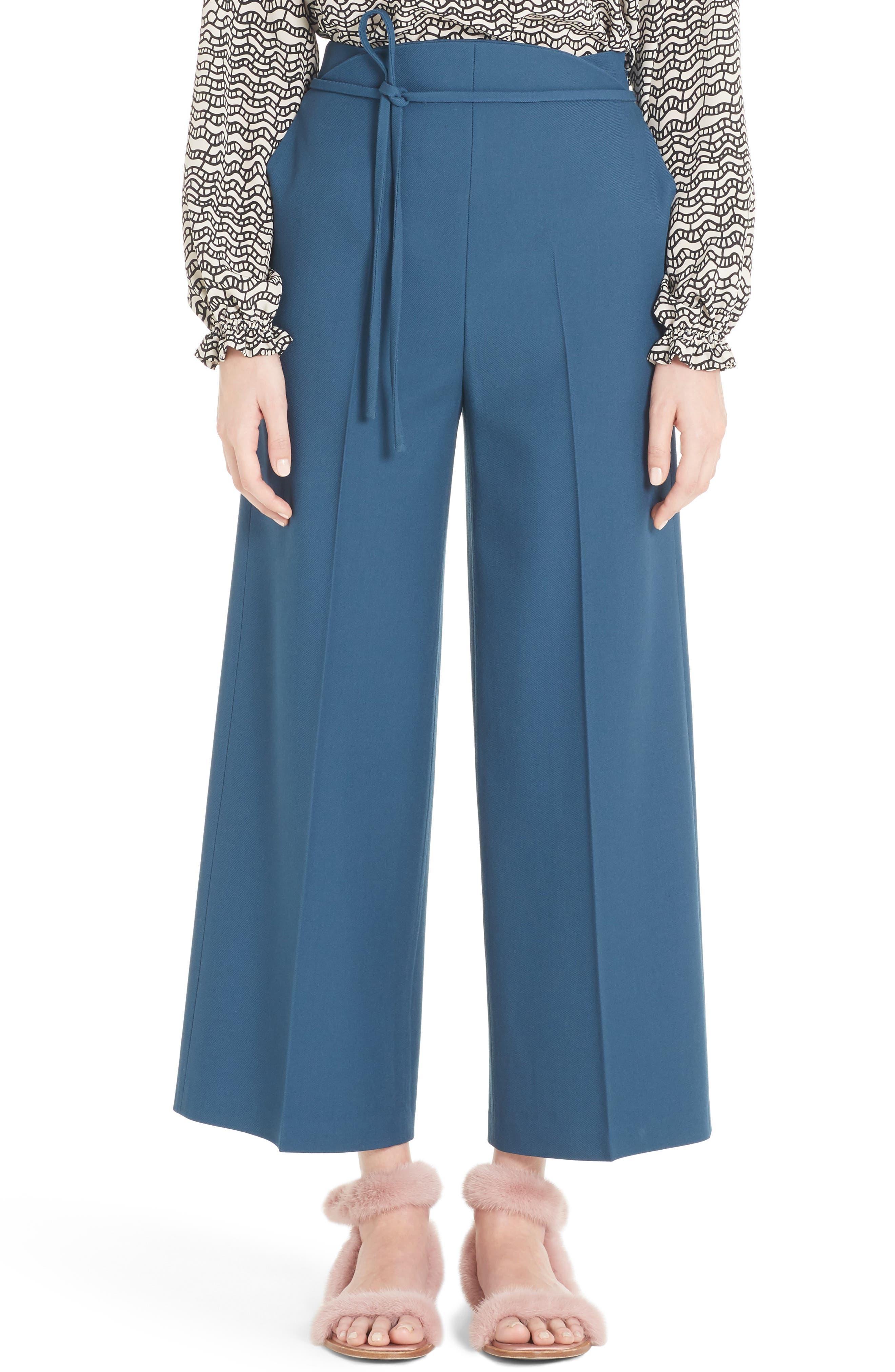 Tie Waist Crop Wool Pants,                         Main,                         color, Deep Sea