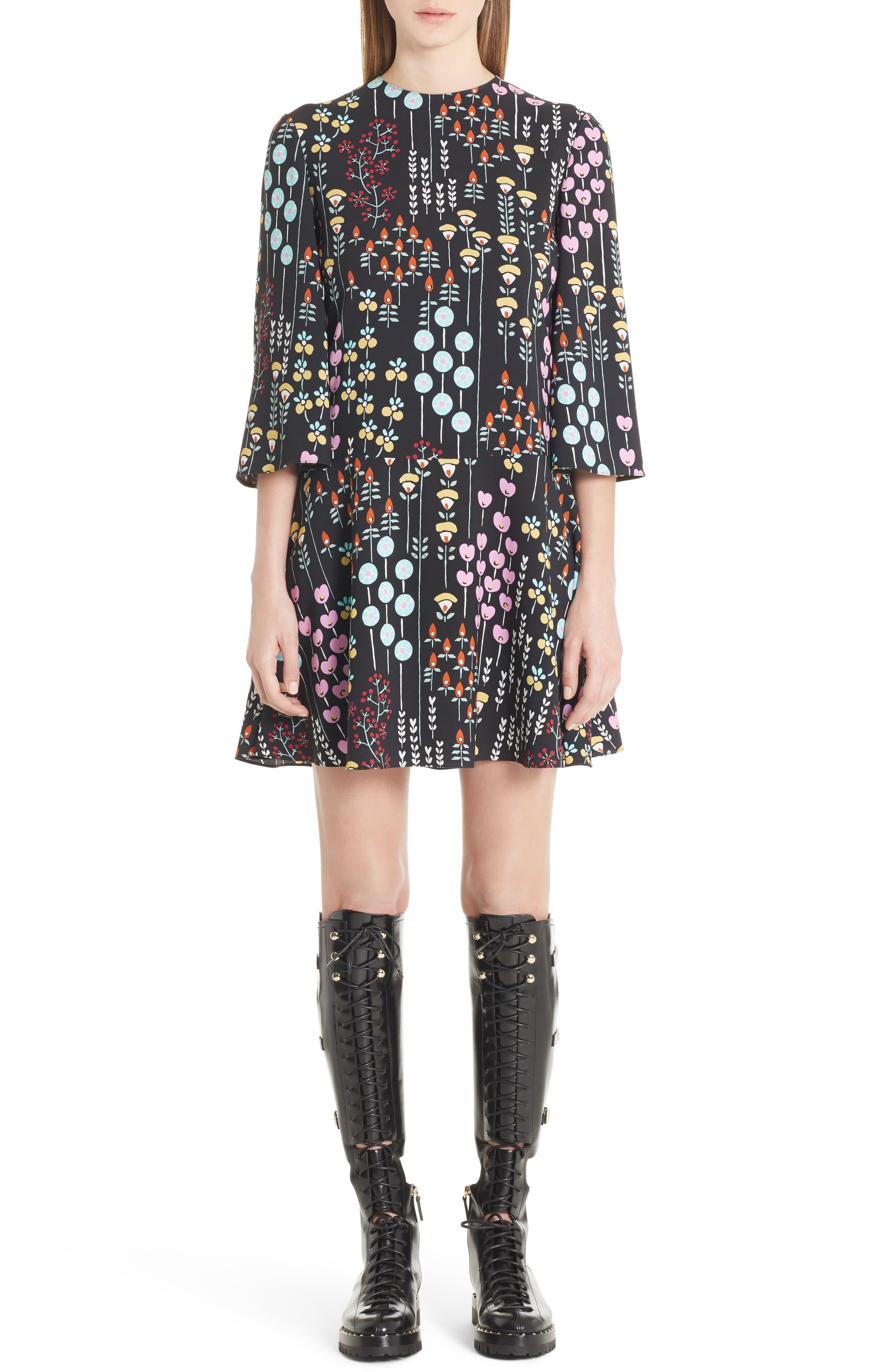 VALENTINO GARAVANI Valentino Floral Stem Print Dress