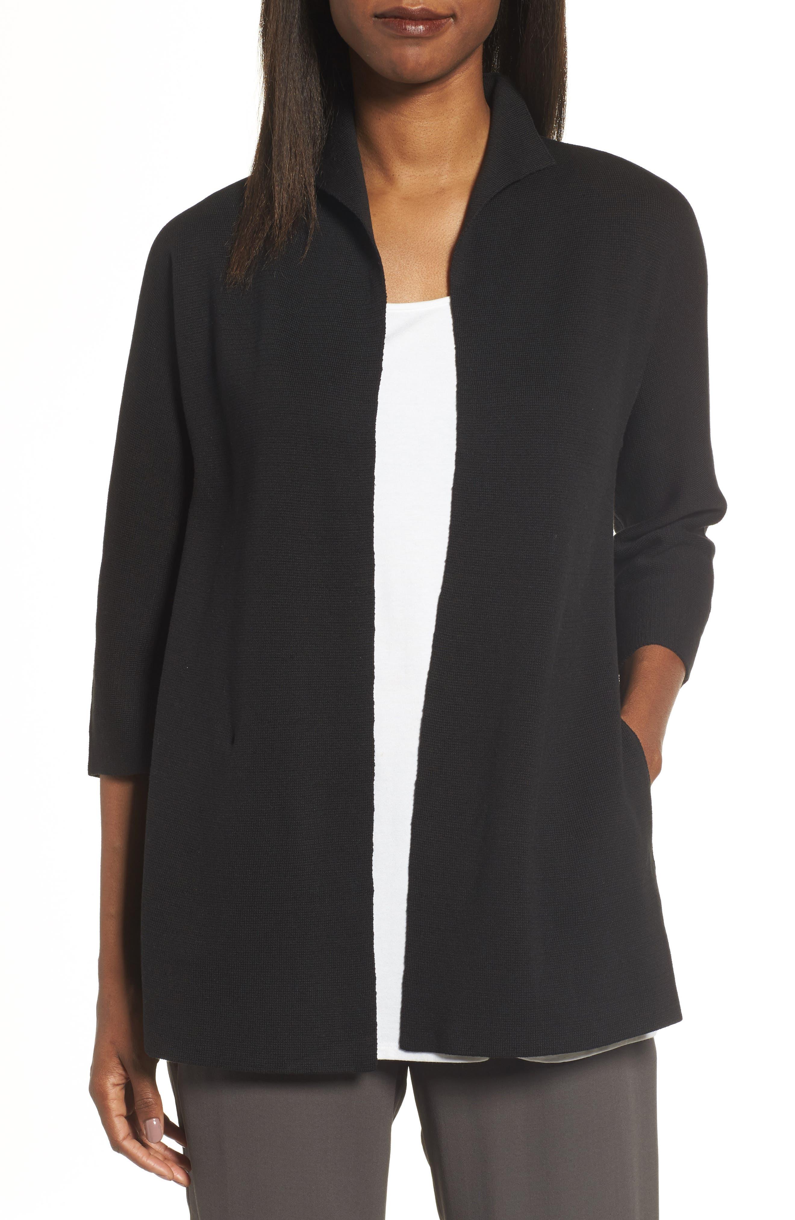 Silk & Organic Cotton Interlock Knit Funnel Neck Jacket,                         Main,                         color, Black
