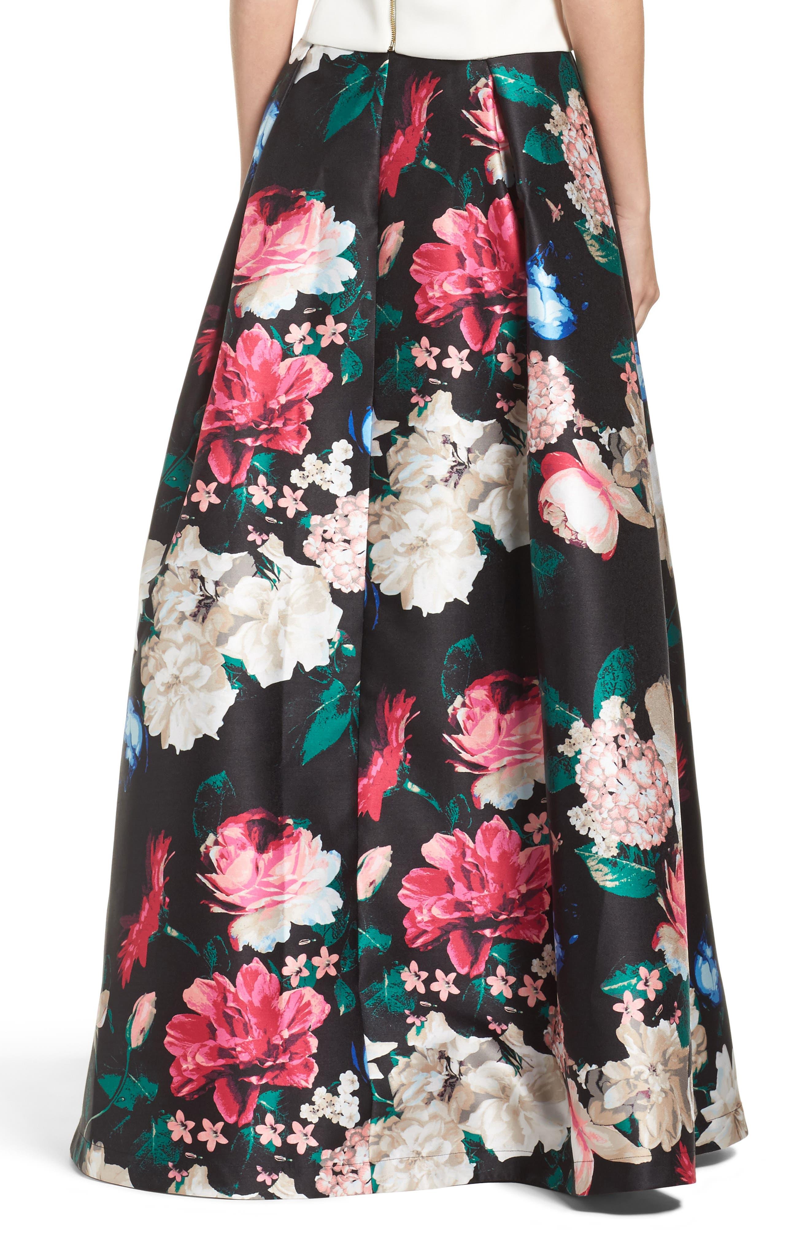 Faille Ball Skirt,                             Alternate thumbnail 2, color,                             Black/ Pink