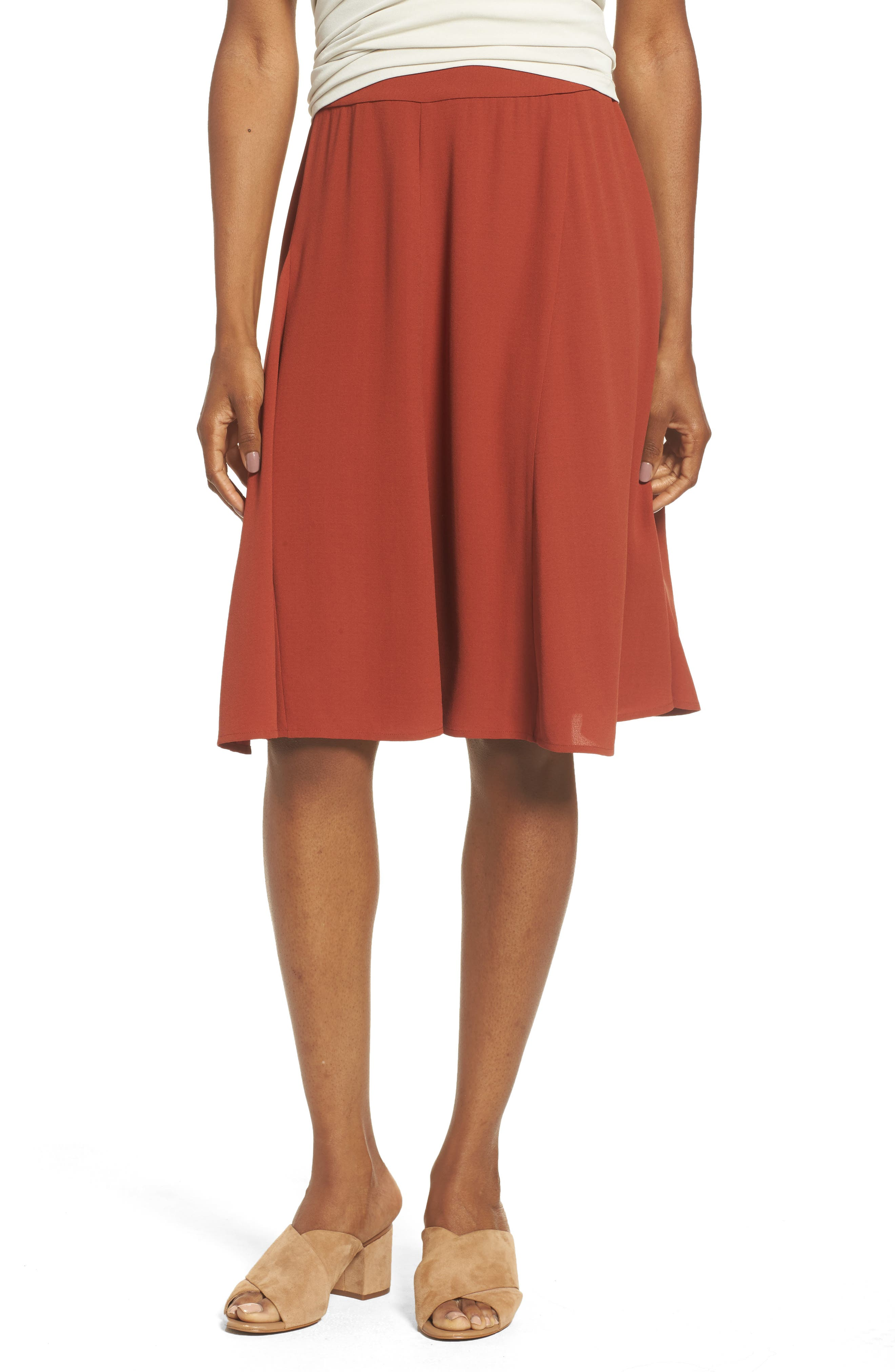 Gored Silk Skirt,                         Main,                         color, Paprika