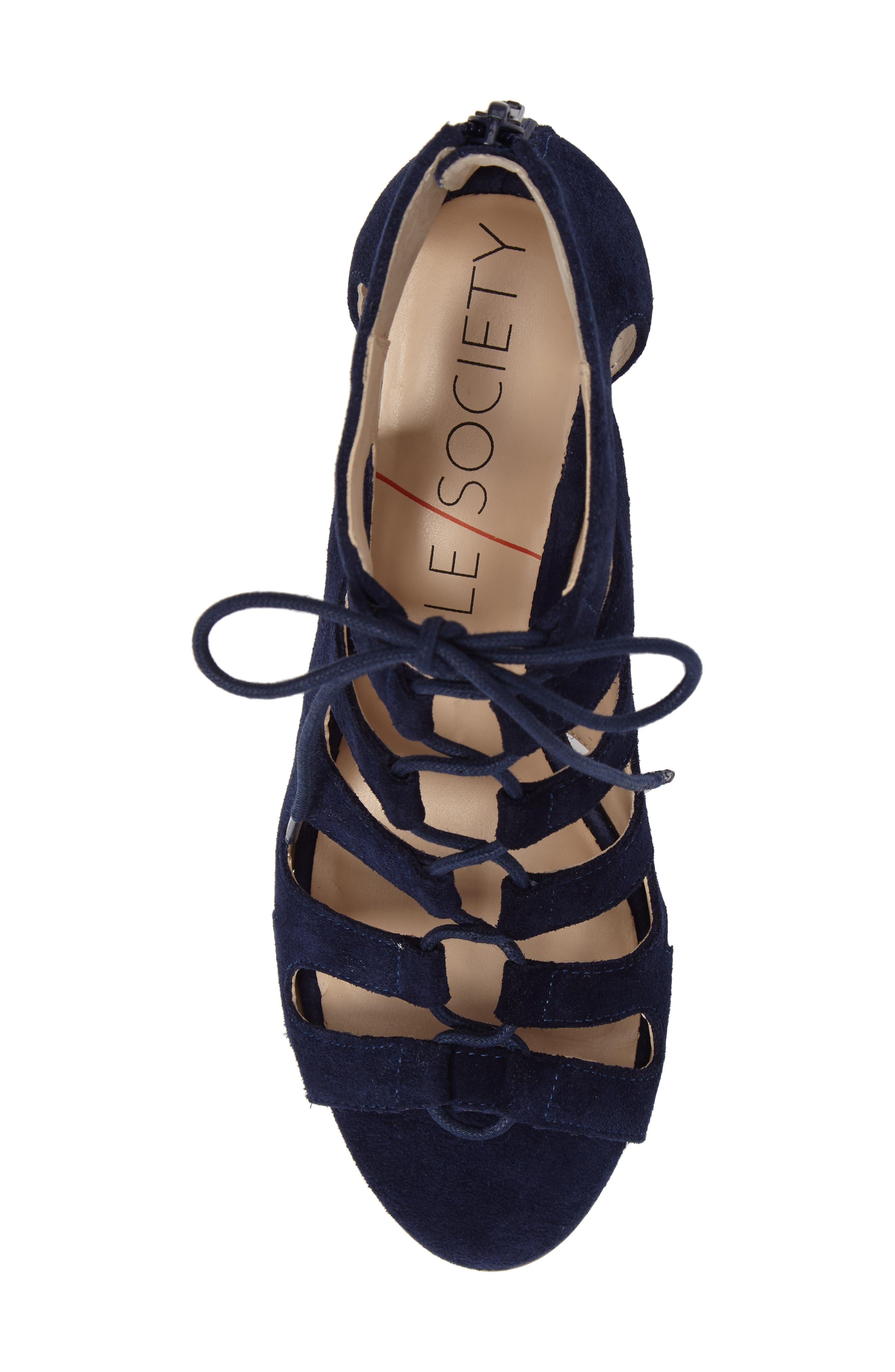 'Freyaa' Wedge Sandal,                             Alternate thumbnail 5, color,                             Navy Suede