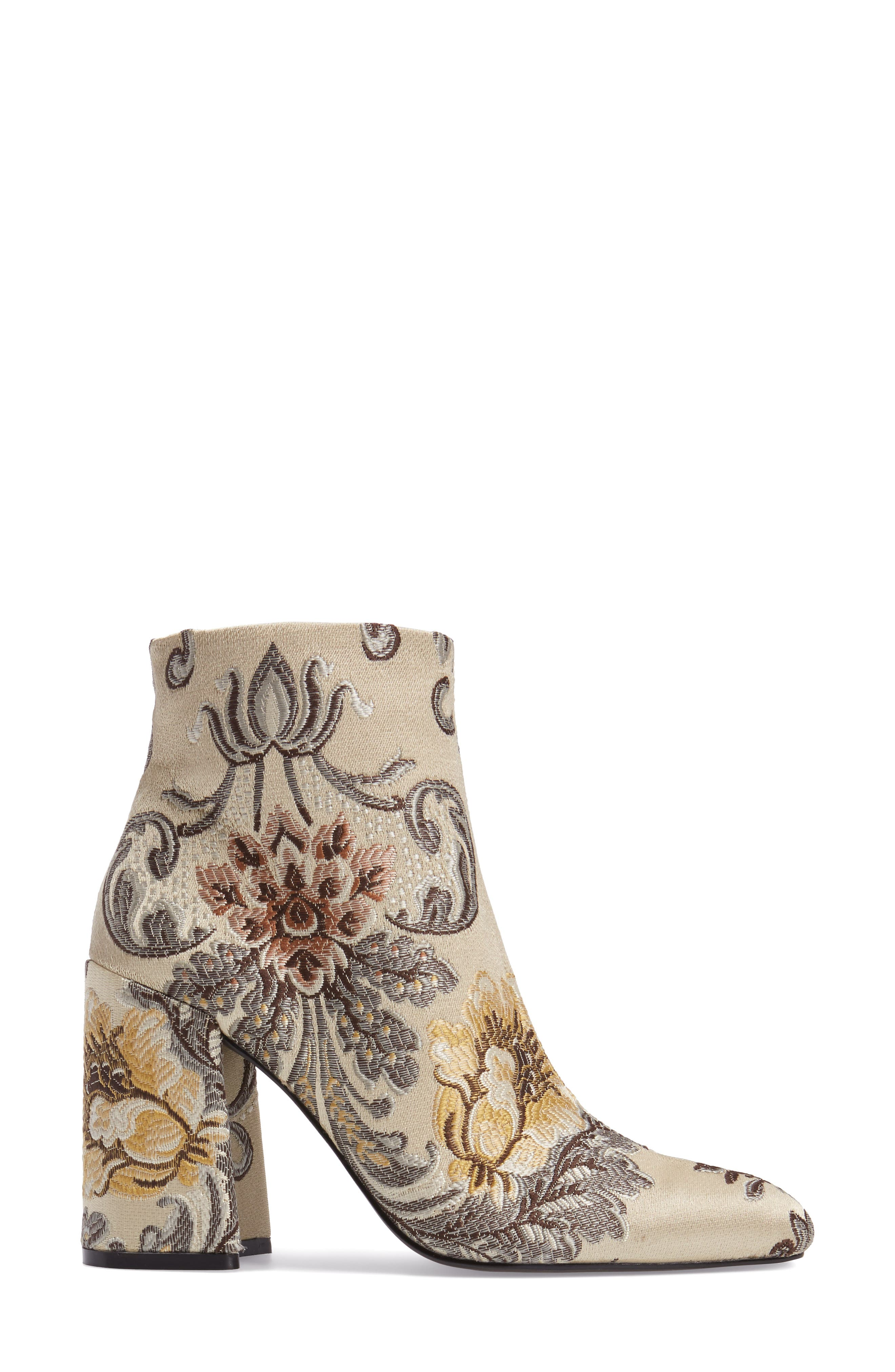 Emmy Brocade Bootie,                             Alternate thumbnail 3, color,                             Beige