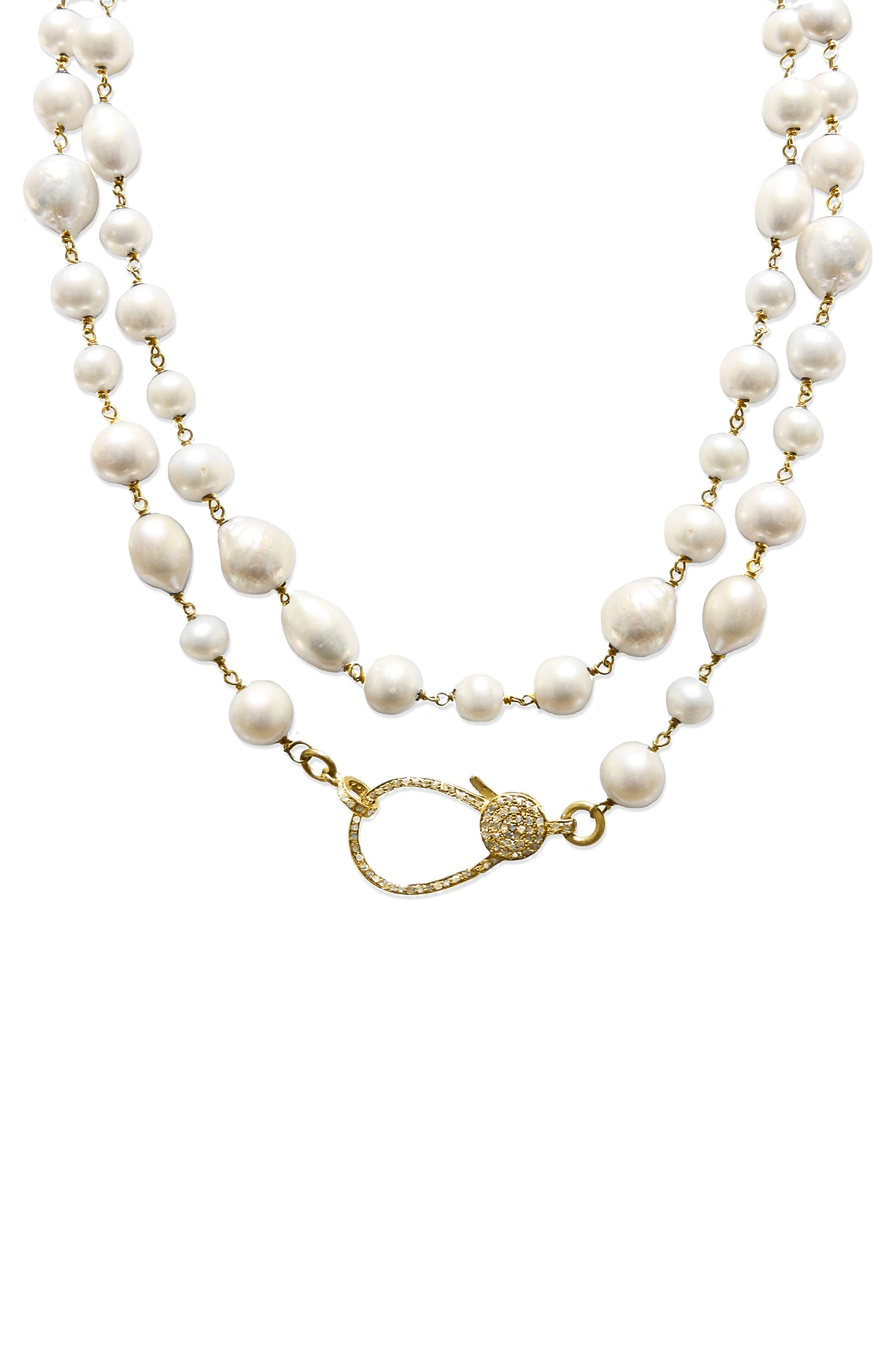 Jane Basch Long Pearl & Diamond Necklace,                             Alternate thumbnail 2, color,                             Pearl/ Yellow Gold
