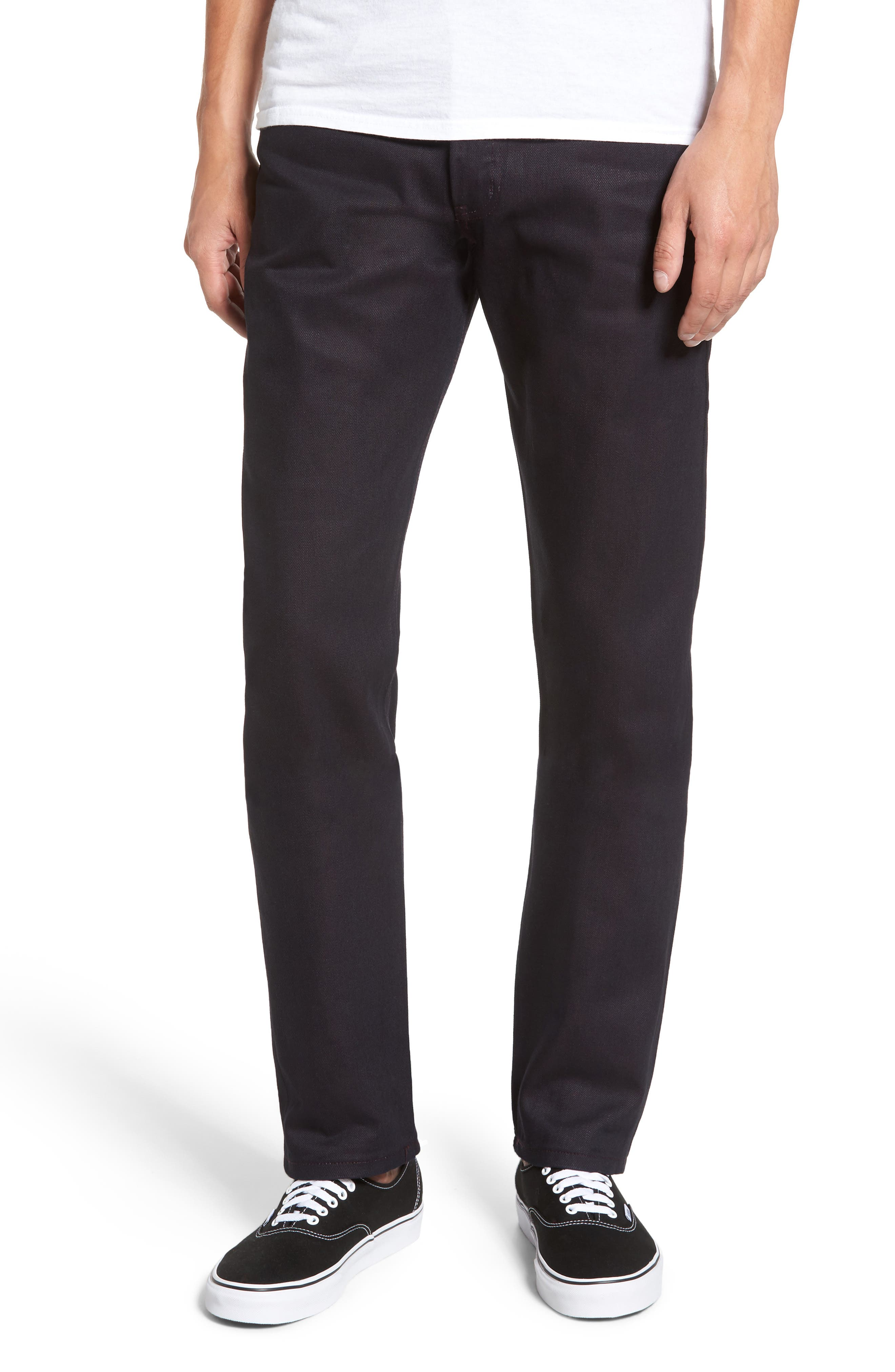 Naked and Famous Denim Weird Guy Slim Fit Dyed Selvedge Jeans (Wine)