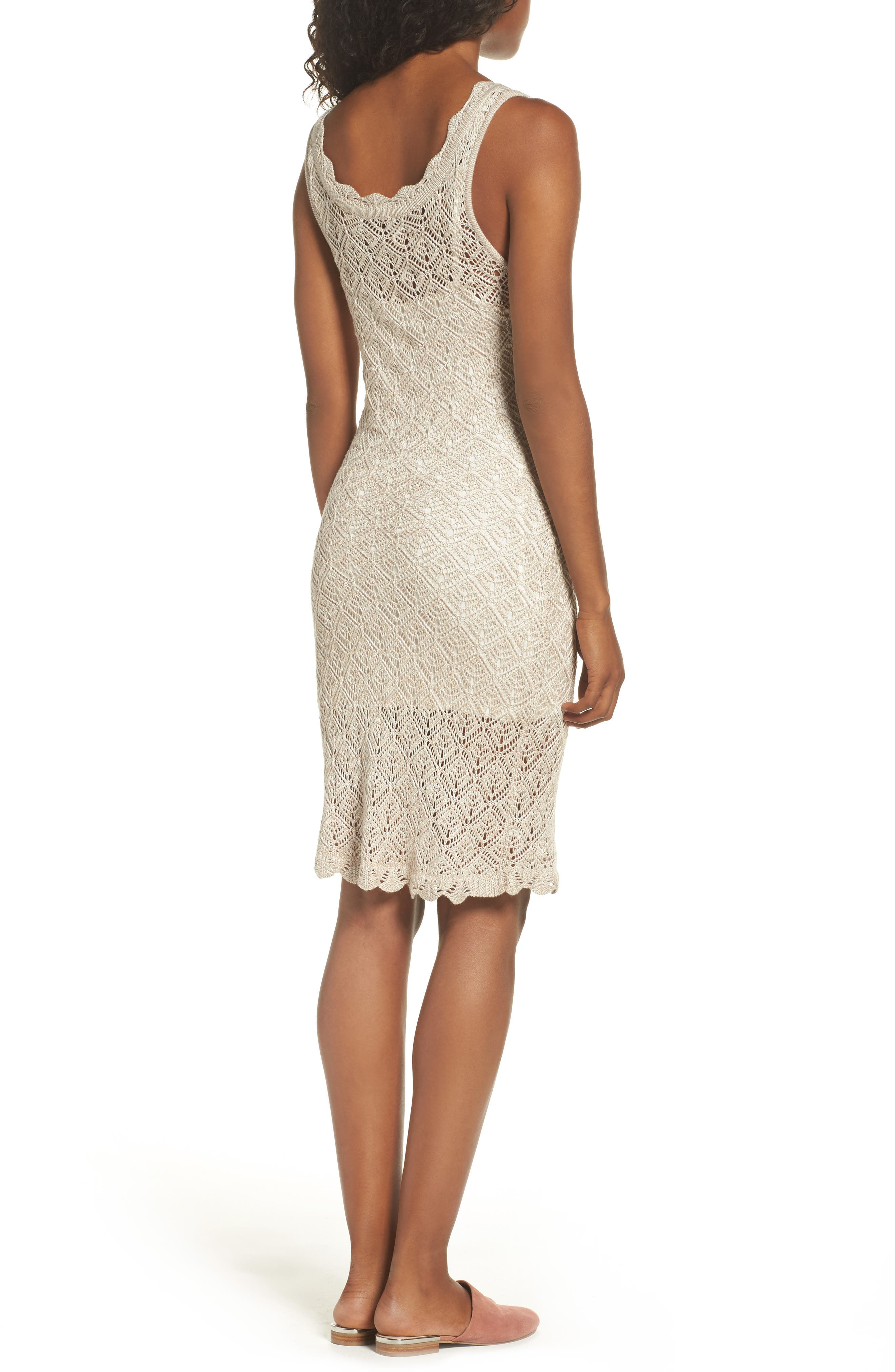 Picnic By The Lagoon Lace Dress,                             Alternate thumbnail 3, color,                             Sand