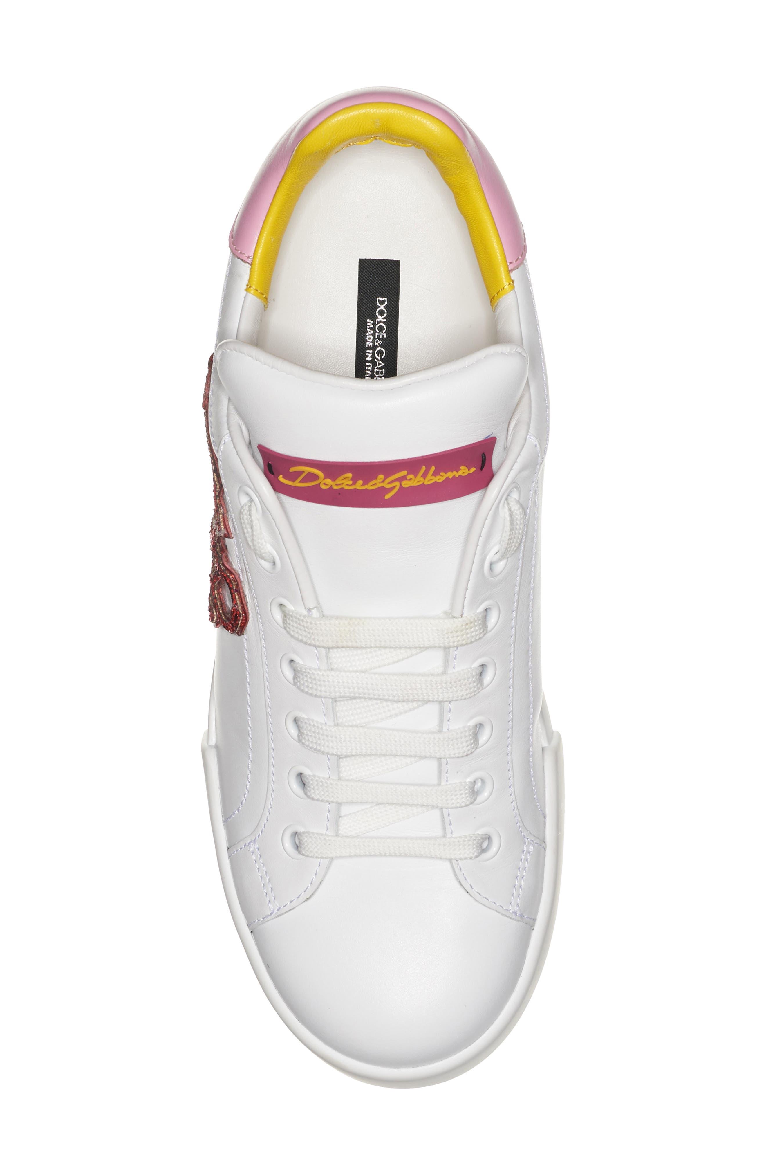 Lipstick Sneaker,                             Alternate thumbnail 4, color,                             White/ Pink