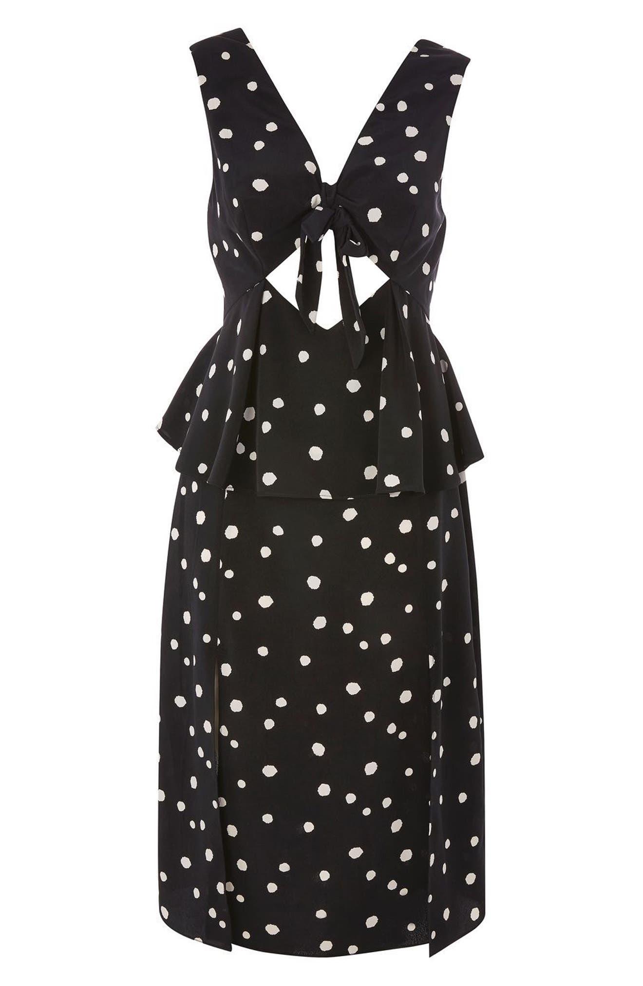 Spot Peplum Midi Dress,                             Alternate thumbnail 3, color,                             Black Multi