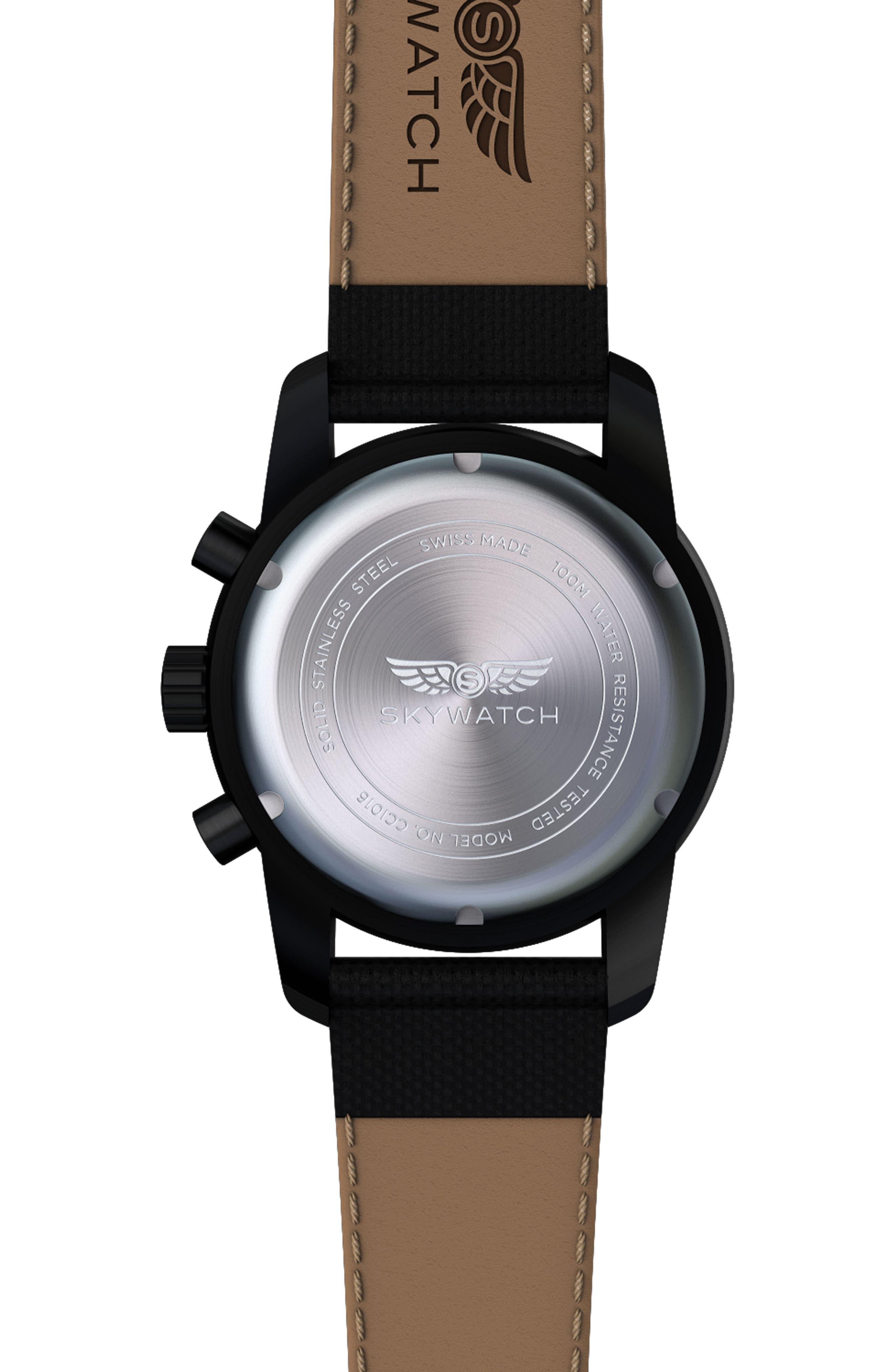 Classic Chronograph Woven Strap Watch, 44mm,                             Alternate thumbnail 2, color,                             Black/ Black