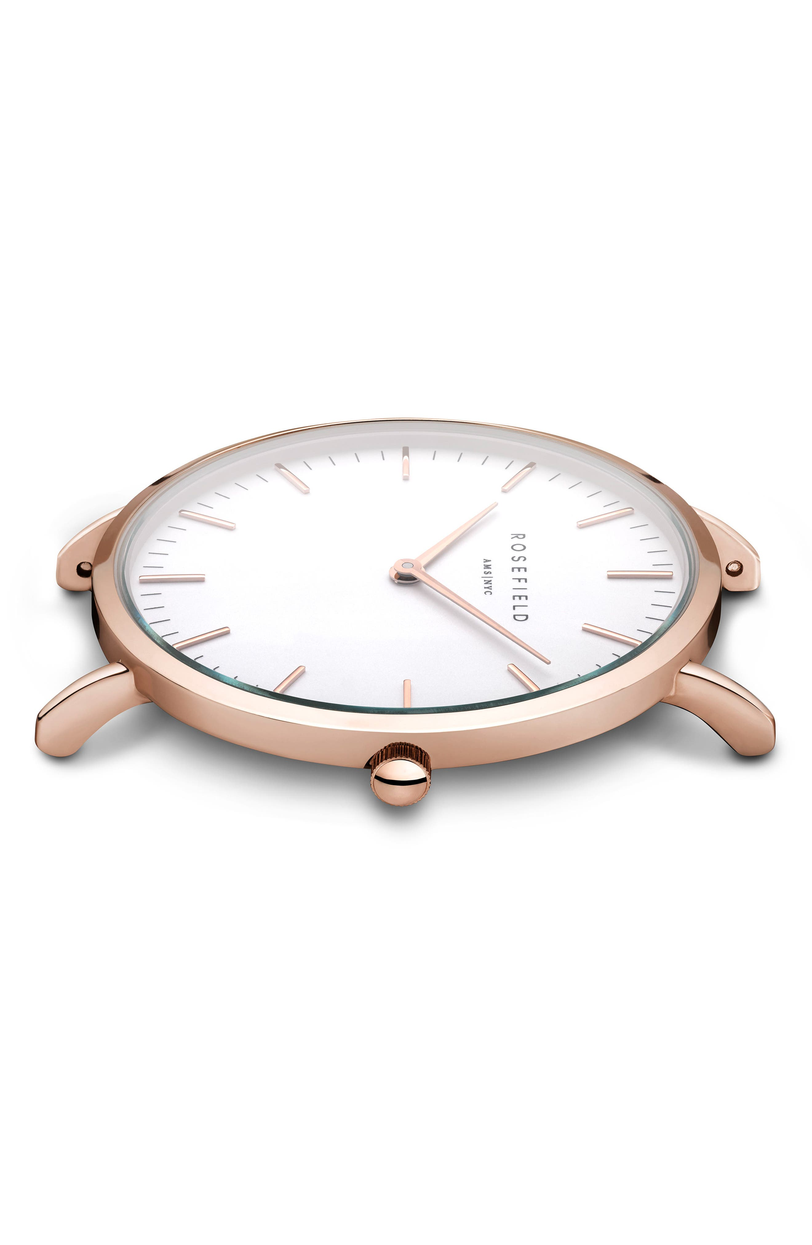 Tribeca Leather Strap Watch, 33mm,                             Alternate thumbnail 3, color,                             Black/ White/ Rose Gold