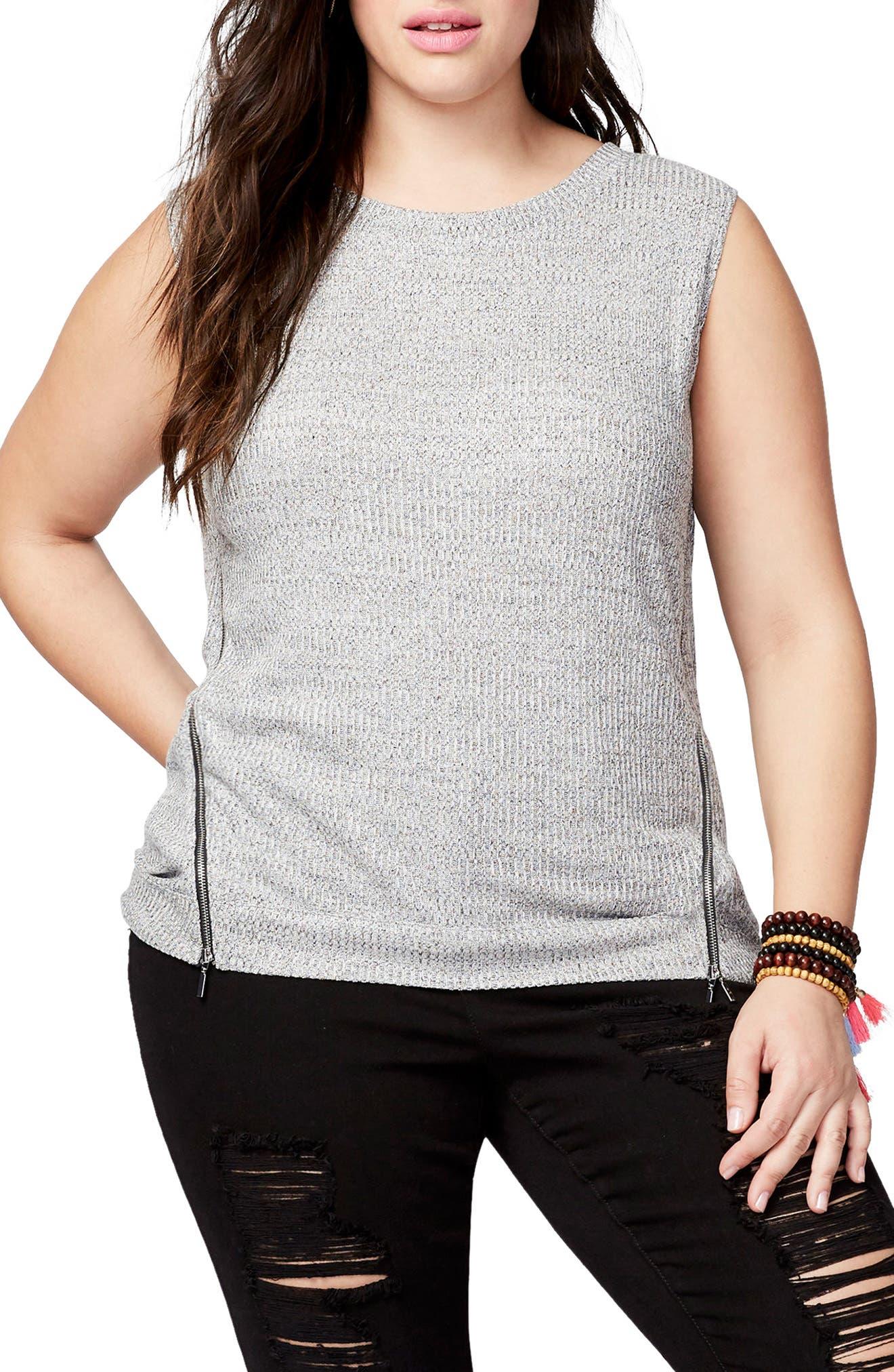 Zip Detail Knit Tank,                         Main,                         color, Heather Grey
