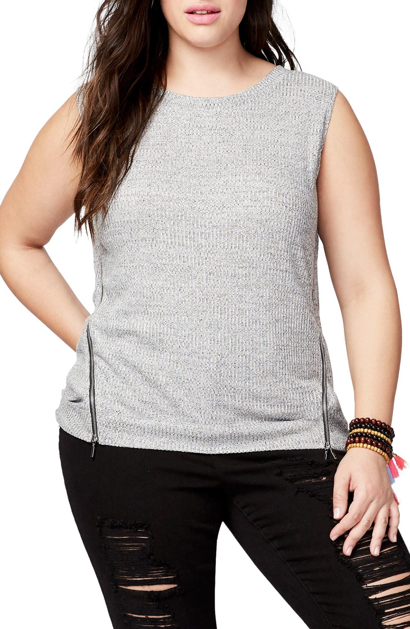 RACHEL Rachel Roy Zip Detail Knit Tank (Plus Size)