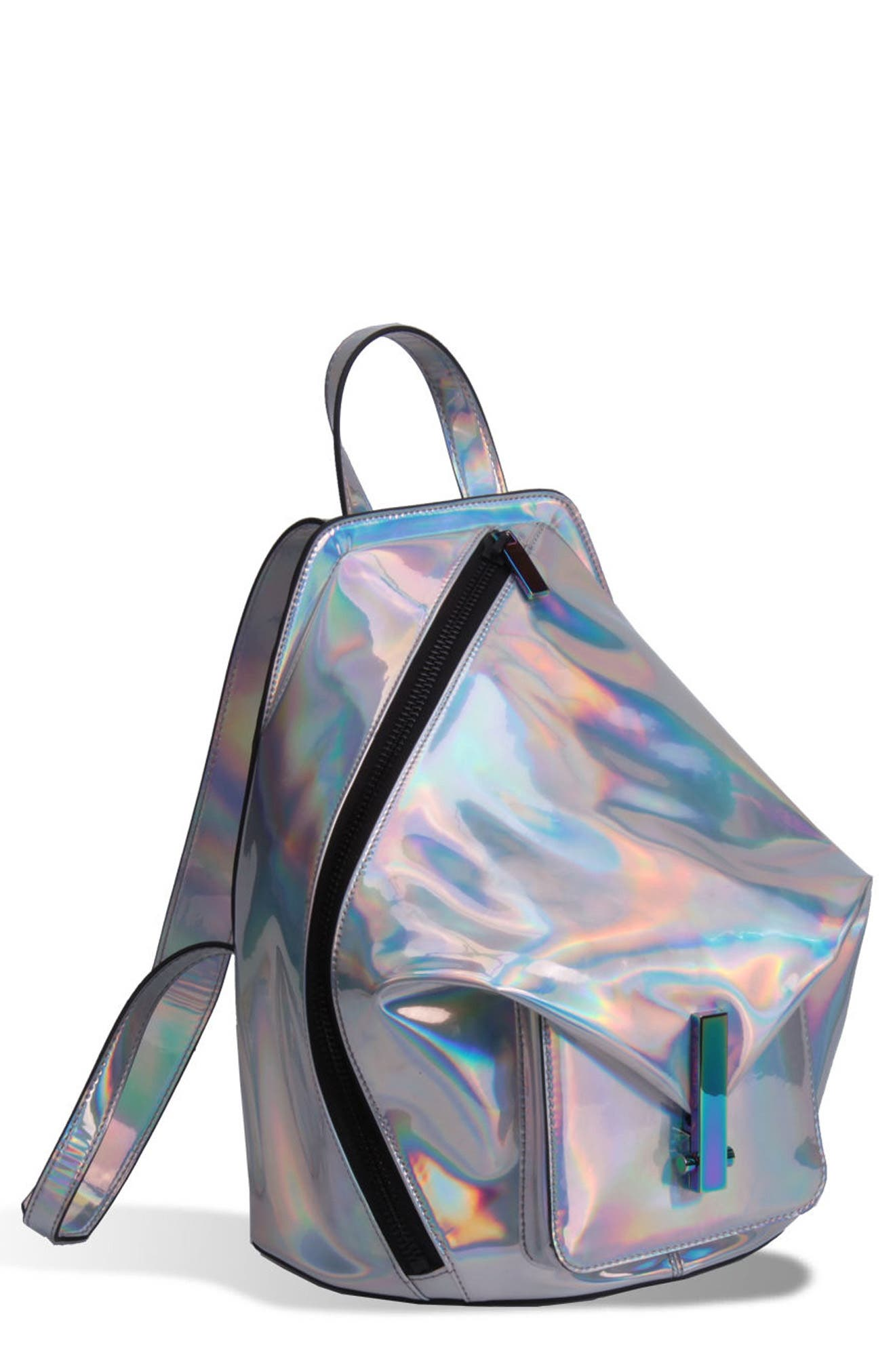 Koenji Leather Backpack,                         Main,                         color, Silver Iridescent